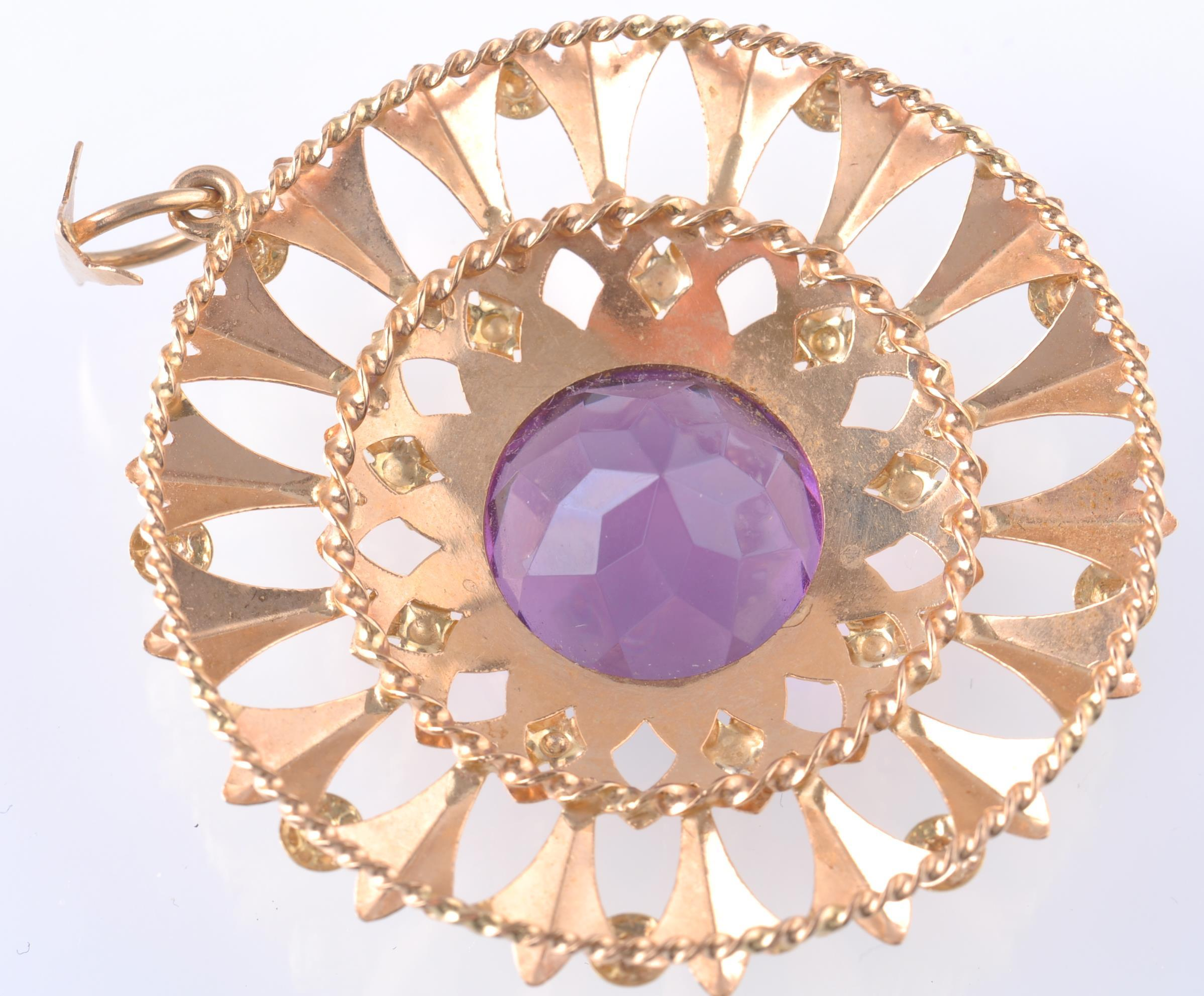 AN 18CT GOLD AND PURPLE GEM PENDANT BROOCH - Image 2 of 2