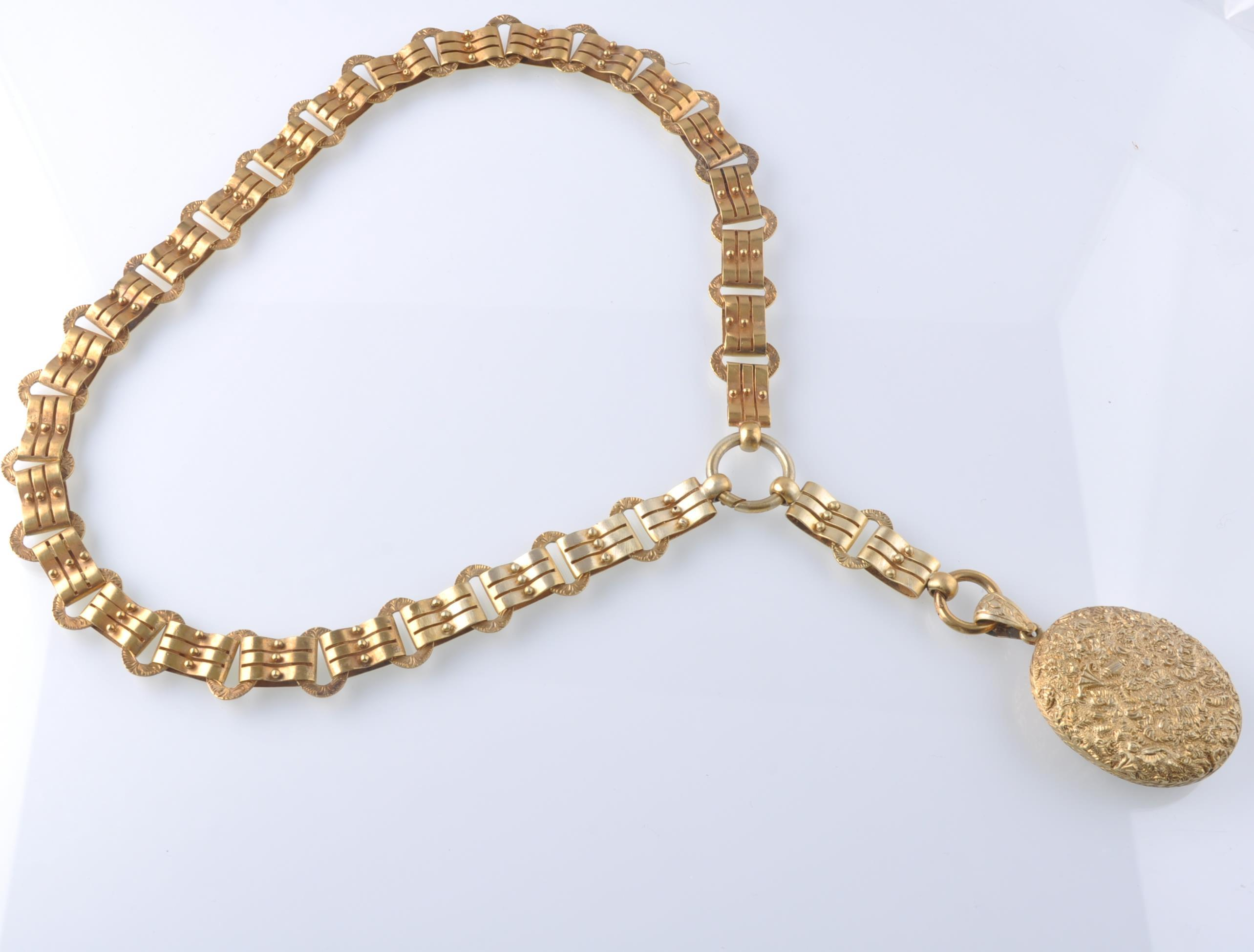 A 19TH CENTURY VICTORIAN PENDANT LOCKET ON CHAIN - Image 2 of 9
