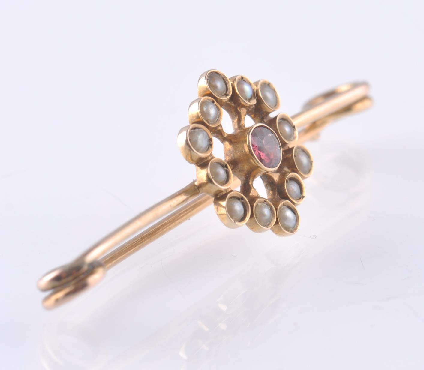 VICTORIAN 9CT GOLD SEED PEARL AND RUBY BAR BROOCH