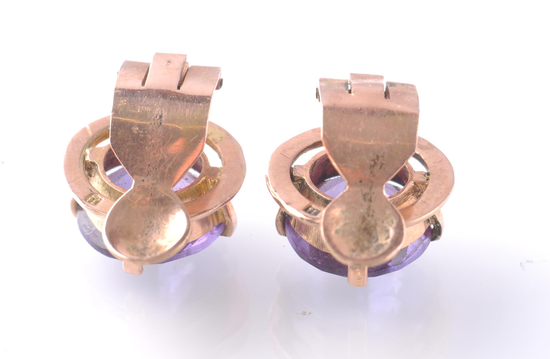 A PAIR OF 14CT ROSE GOLD & SAPPHIRE EAR CLIPS - Image 3 of 3