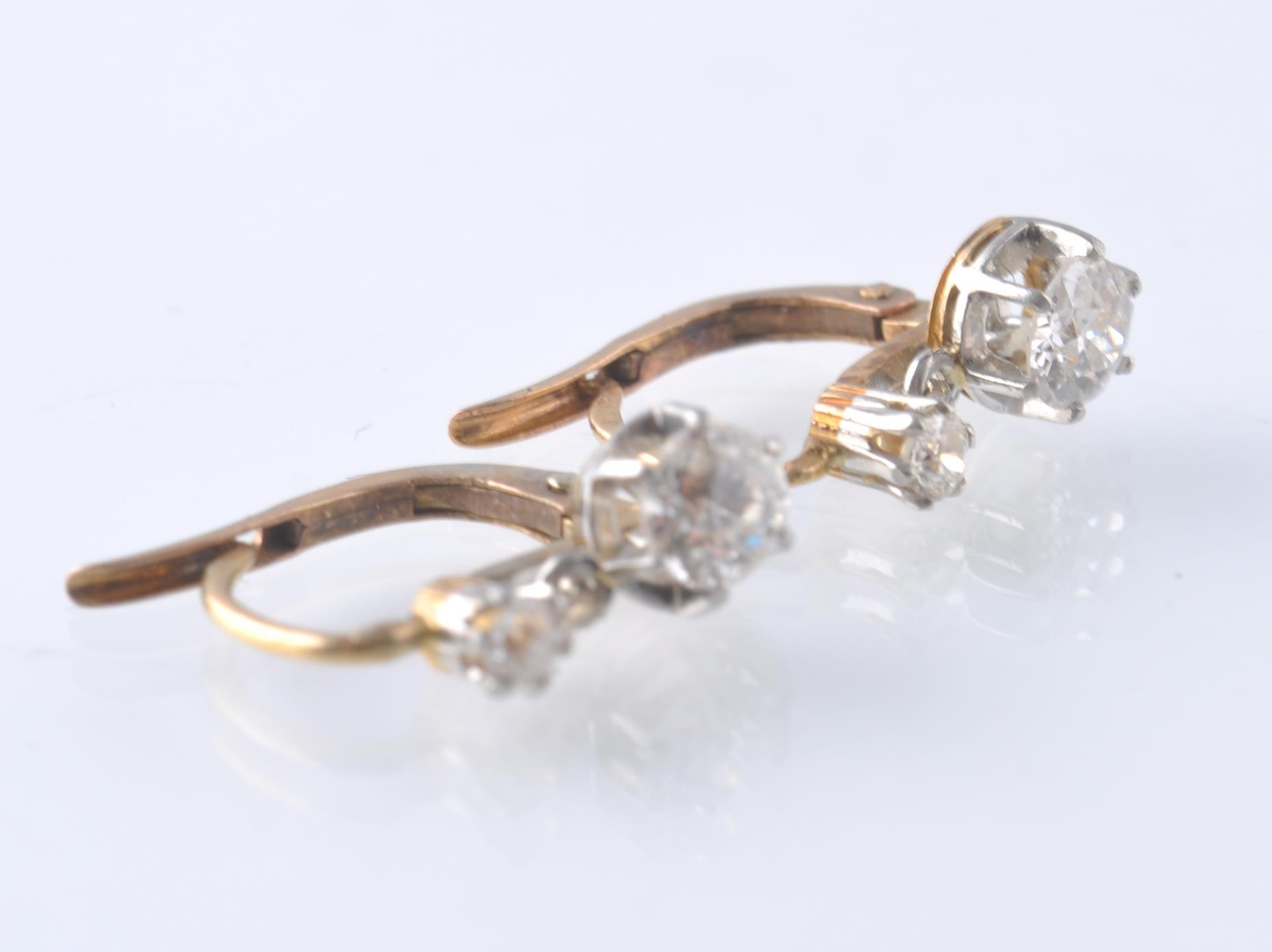 A PAIR OF FRENCH 18CT GOLD PLATINUM AND DIAMOND DR - Image 2 of 3