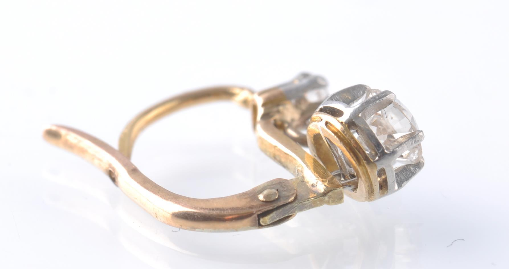 A PAIR OF FRENCH 18CT GOLD PLATINUM AND DIAMOND DR - Image 3 of 3