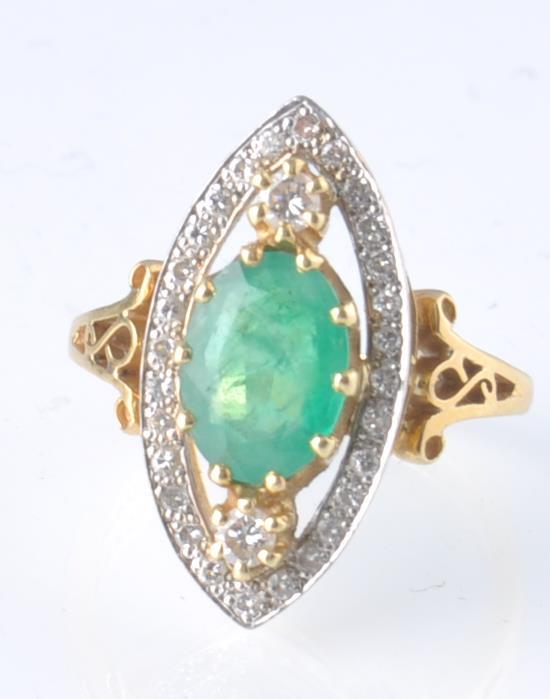 A HALLMARKED 18CT GOD EMERALD AND DIAMOND RING - Image 11 of 11