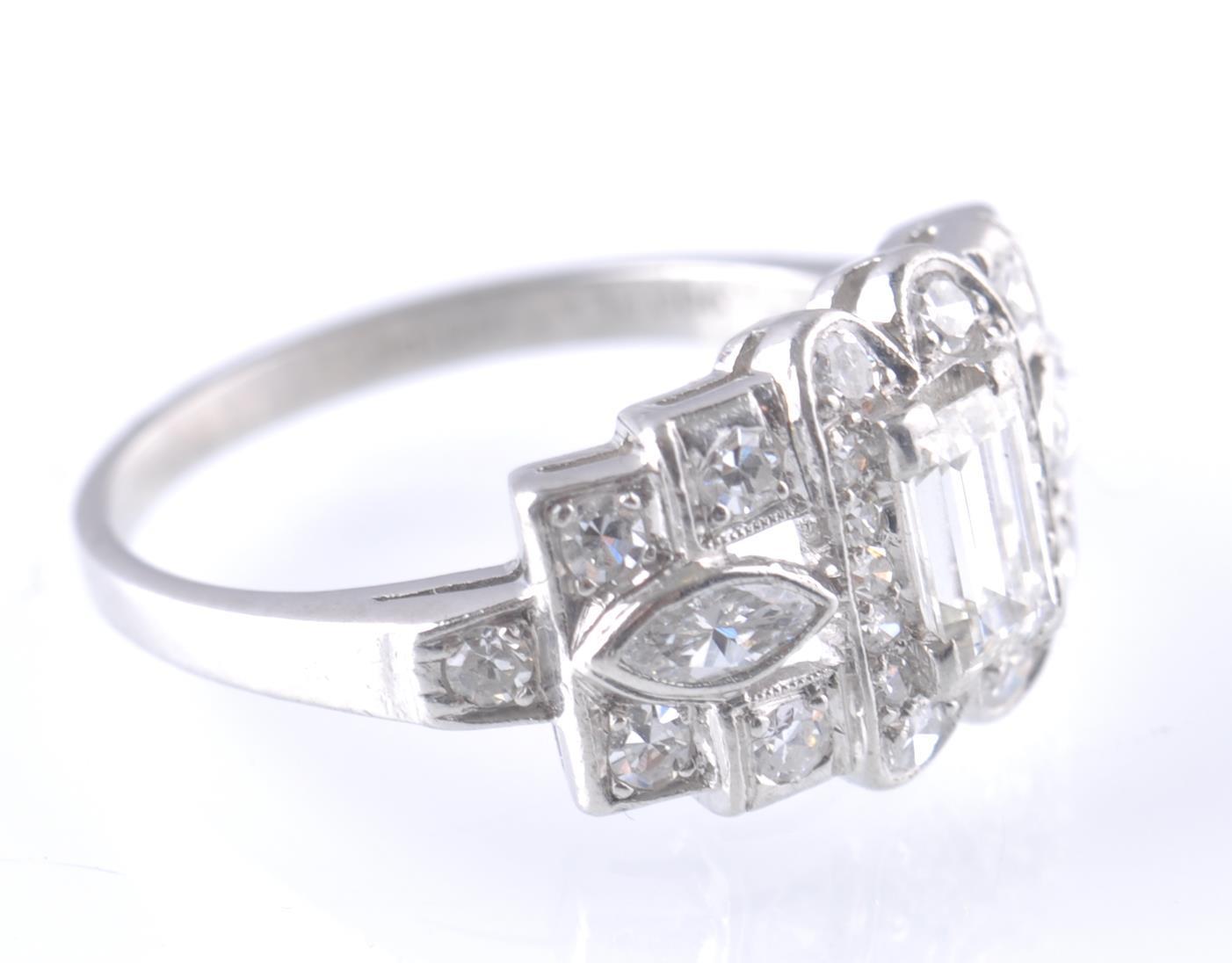 ART DECO PLATINUM AND DIAMOND RING EMERALD AND MAR