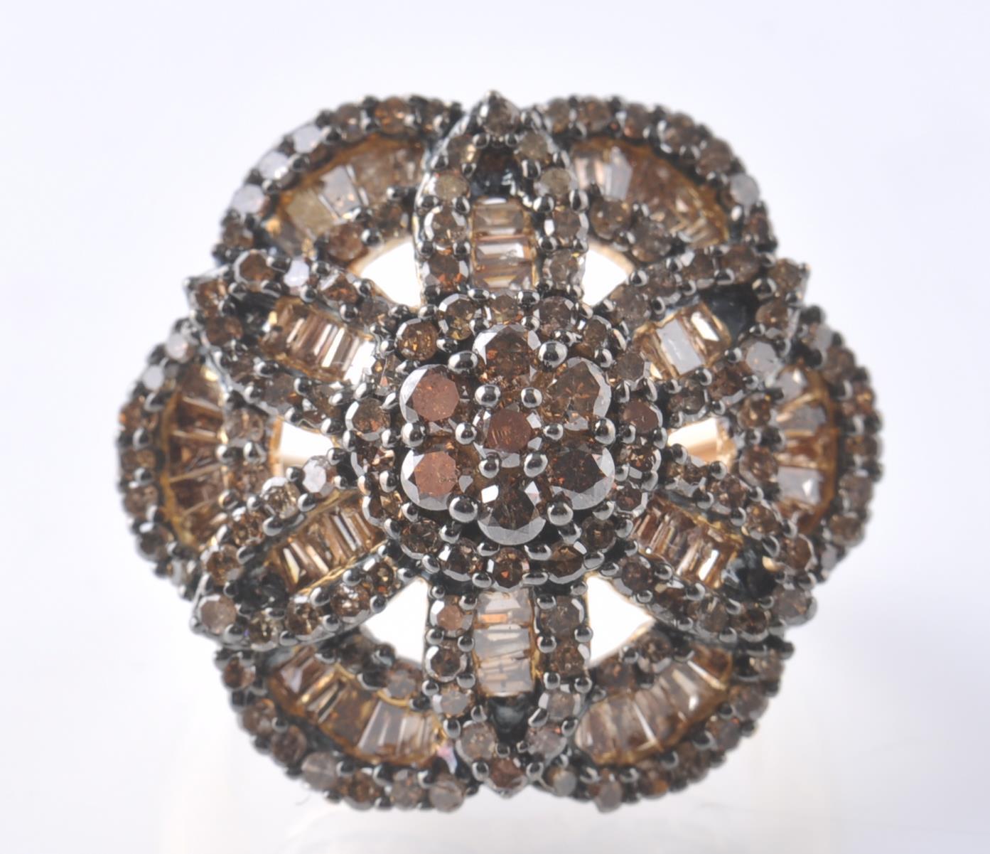 9CT GOLD BIRMINGHAM CHAMPAGNE DIAMOND FLOWER CLUST