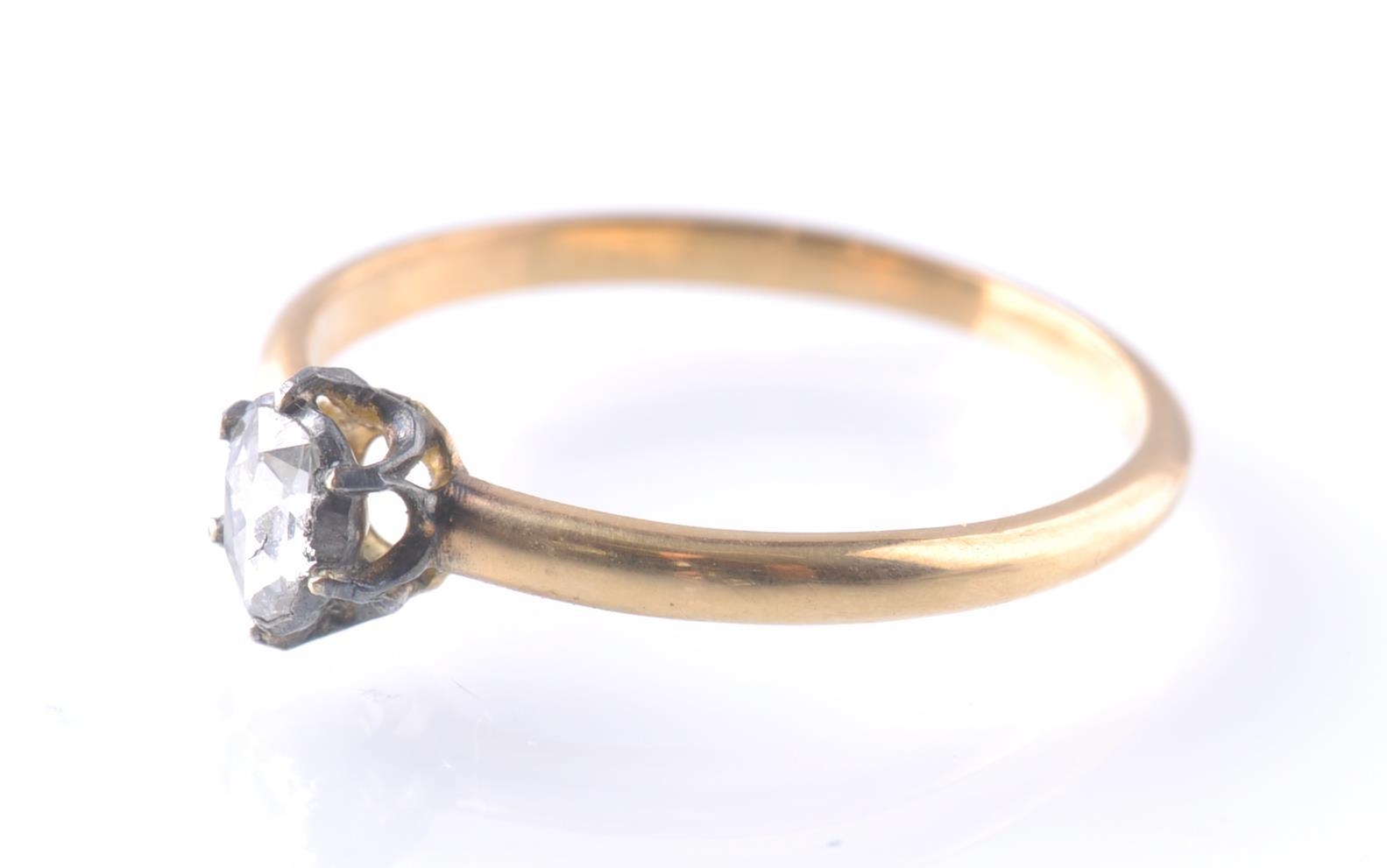 19TH CENTURY ANTIQUE ROSE GOLD SINGLE STONE DIAMON - Image 2 of 3