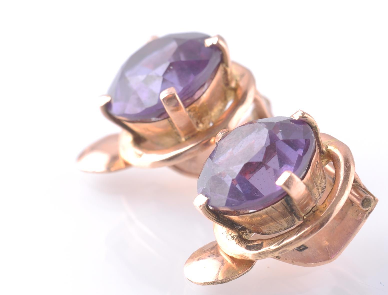 A PAIR OF 14CT ROSE GOLD & SAPPHIRE EAR CLIPS