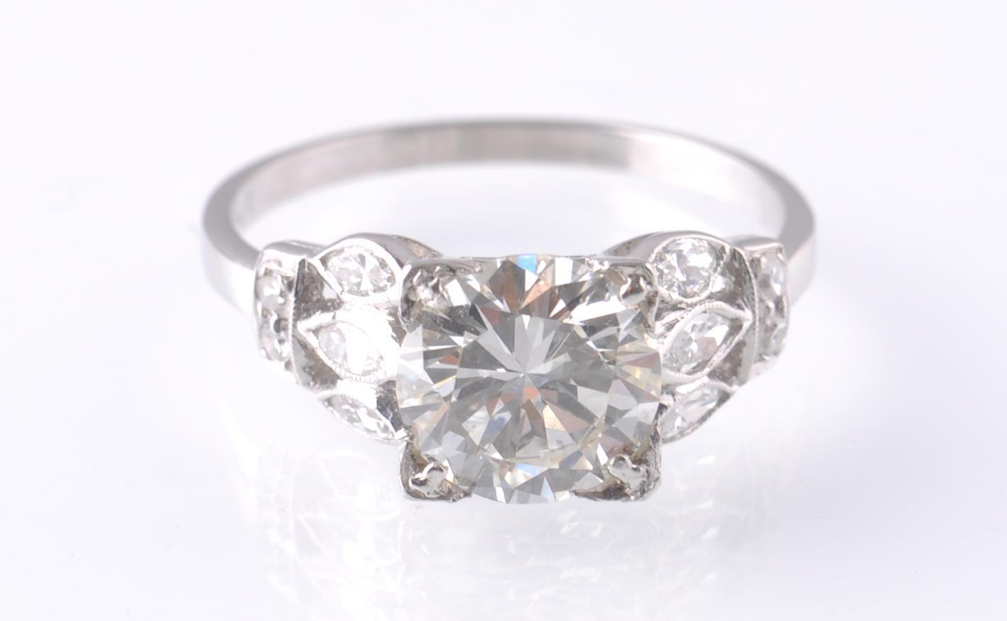 ART DECO PLATINUM AND DIAMOND SOLITAIRE 2CT RING