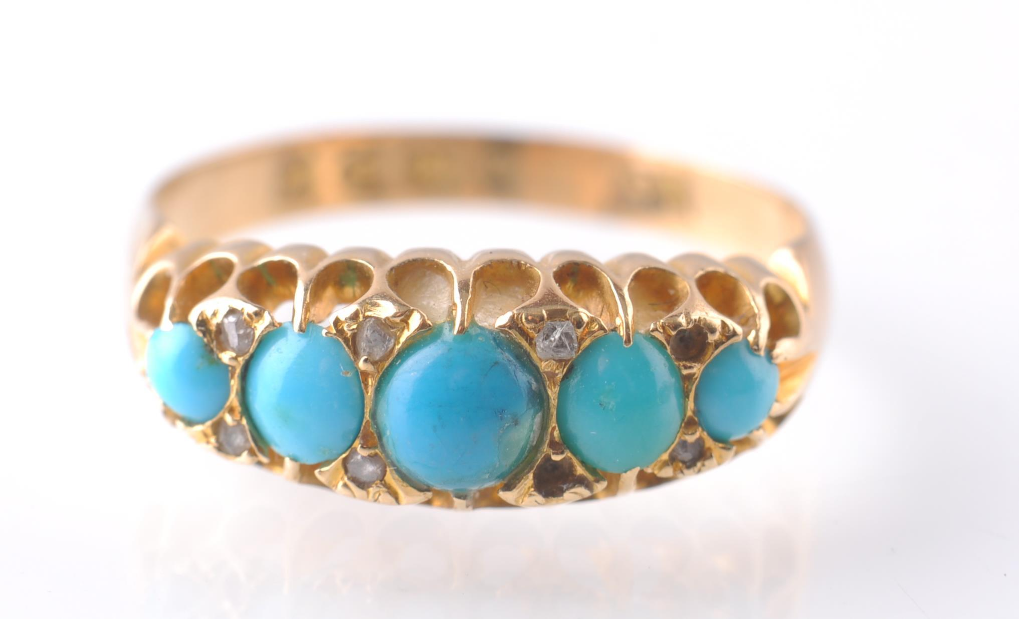 An 18CT GOLD & TURQUOISE GYPSY RING - 1915