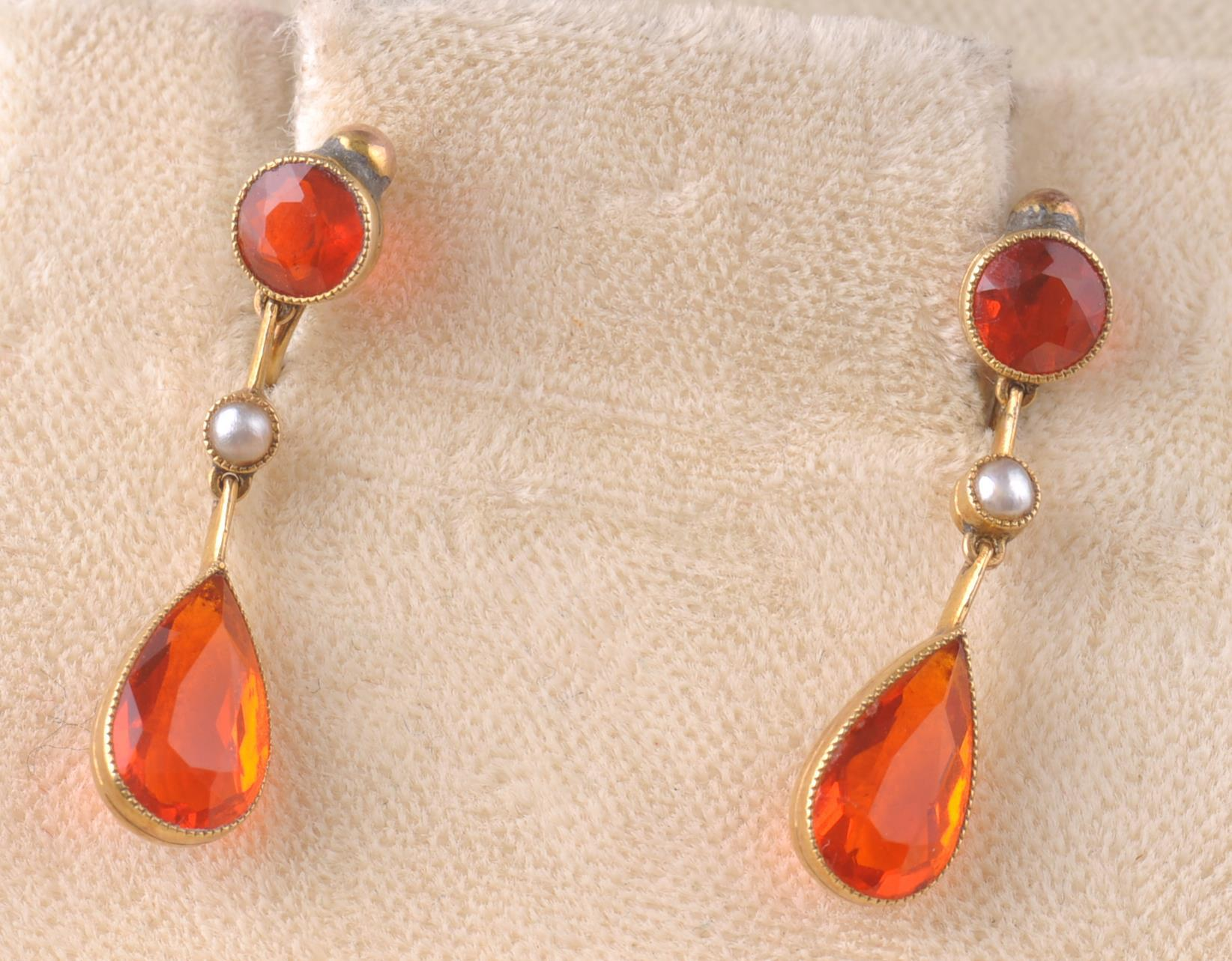 A PAIR OF EARLY 20TH CENTURY SPESSARTINE GARNET & - Image 2 of 4