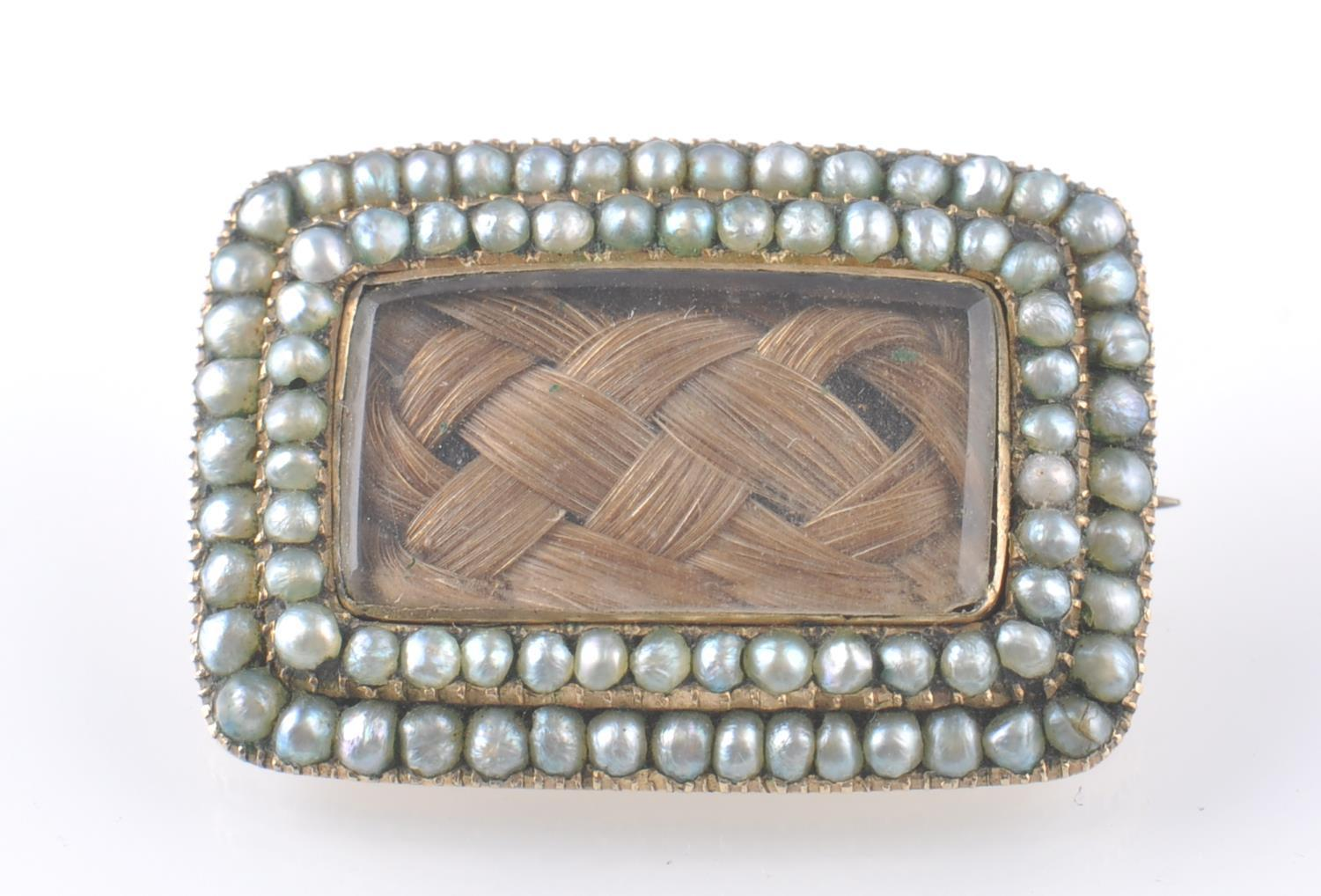 GEORGIAN GOLD SEED PEARL SET MOURNING BROOCH