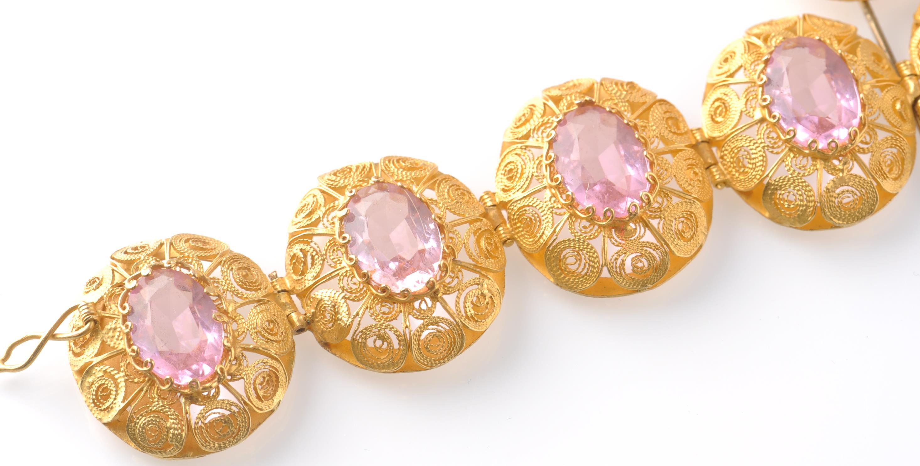 A GOLD FILIGREE AND PINK STONE BRACELET WITH PIN - Image 2 of 9