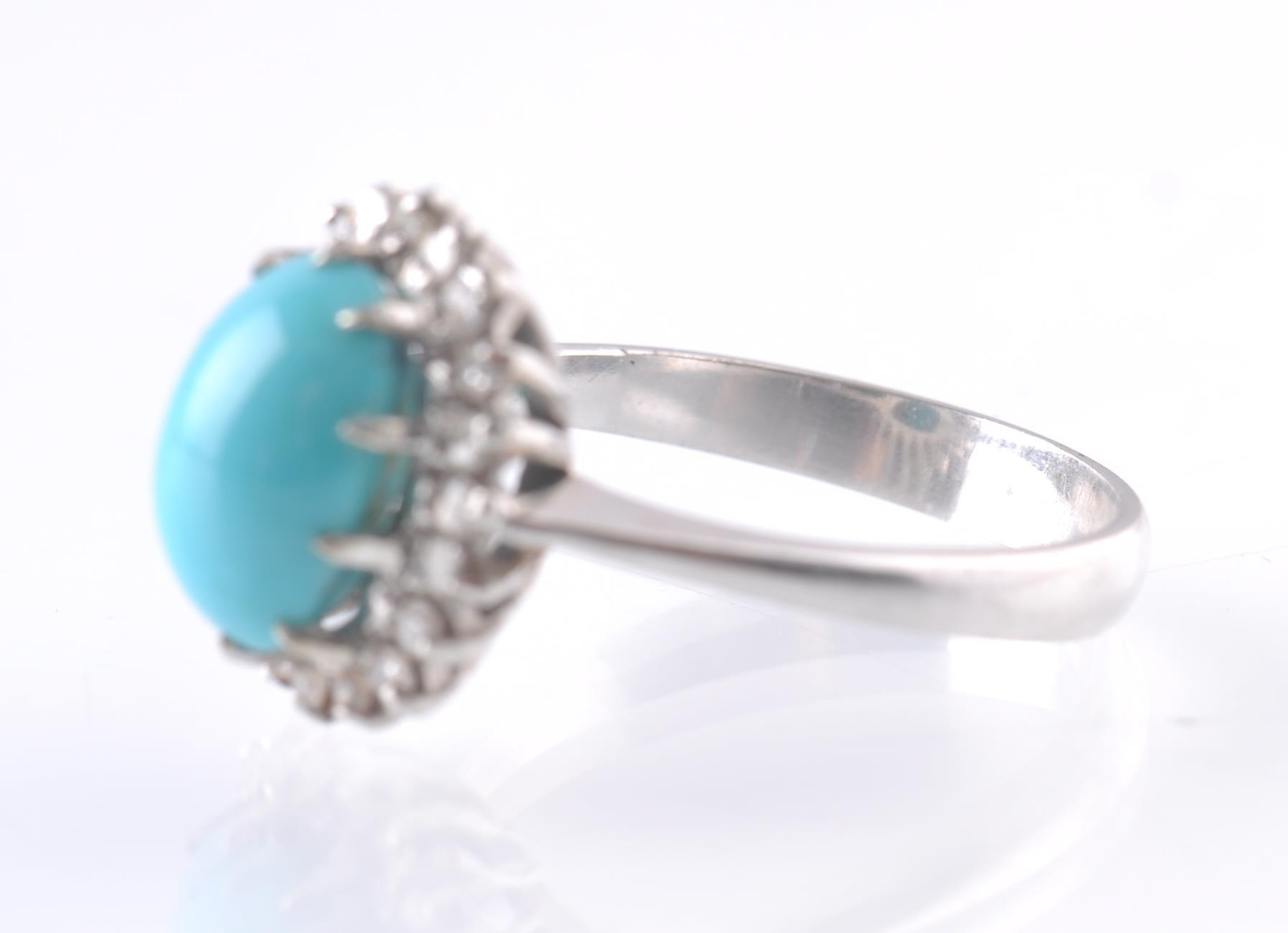AN 18CT WHITE GOLD TURQUOISE AND DIAMOND OVAL CLUS - Image 4 of 4