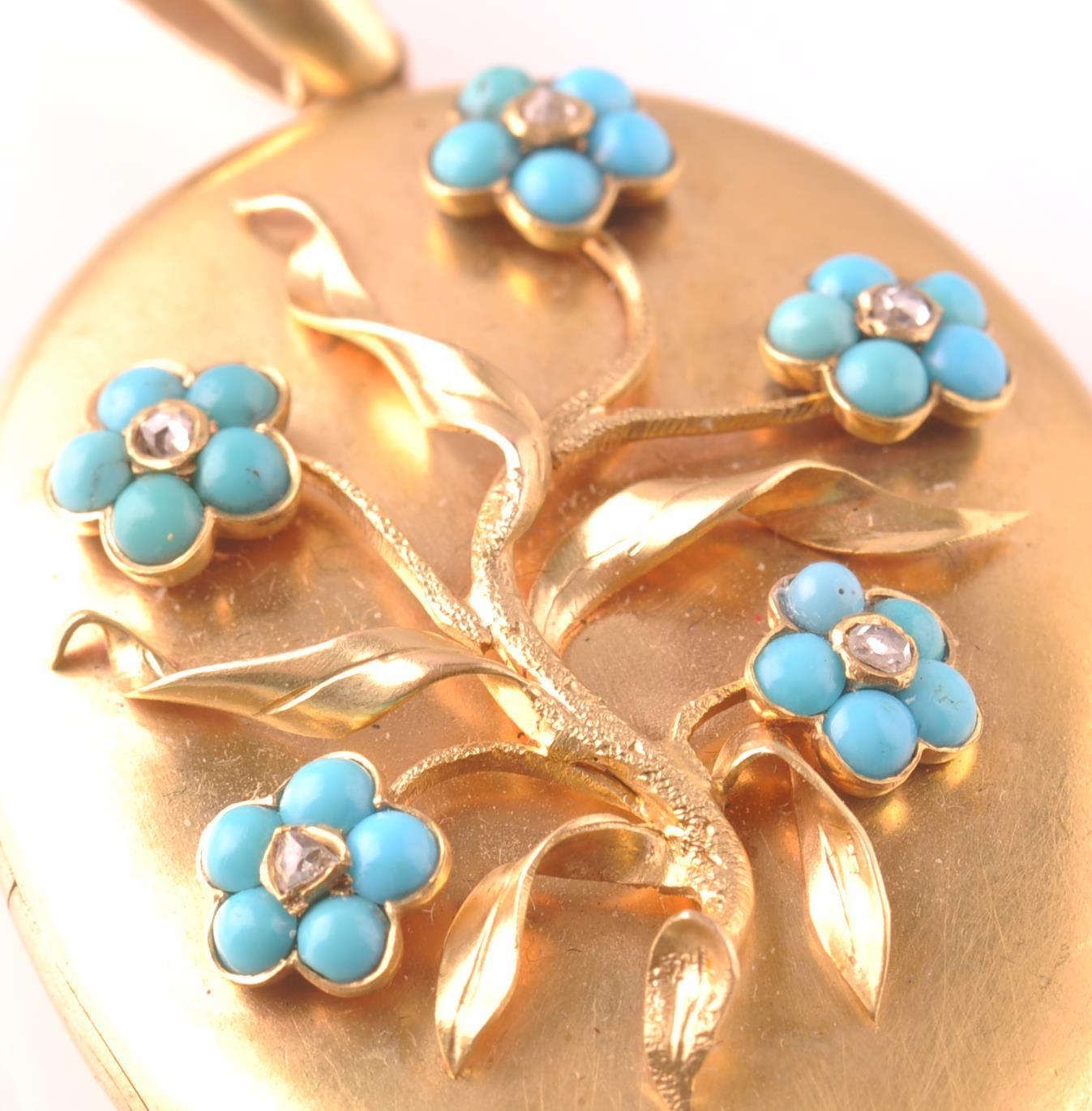 AN 18CT GOLD VICTORIAN TURQUOISE & DIAMOND LOCKET - Image 5 of 5