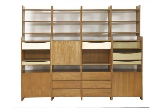 A 'Summa' teak modular stacking storage unit, designed by