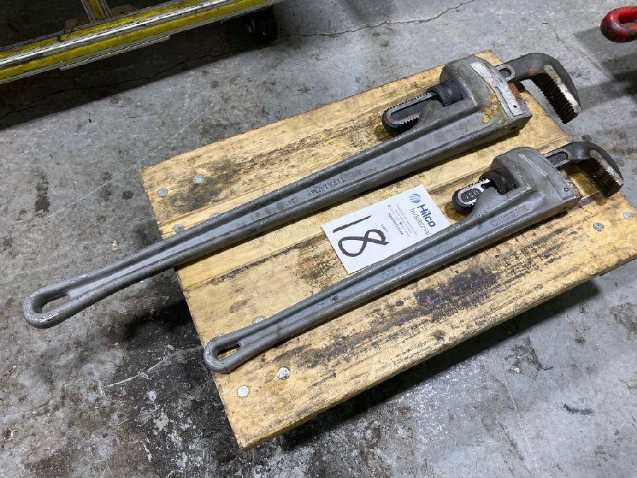 """Lot of Titalum 36"""""""" and Ridgid 24"""""""" Aluminum Pipe Wrenches"""