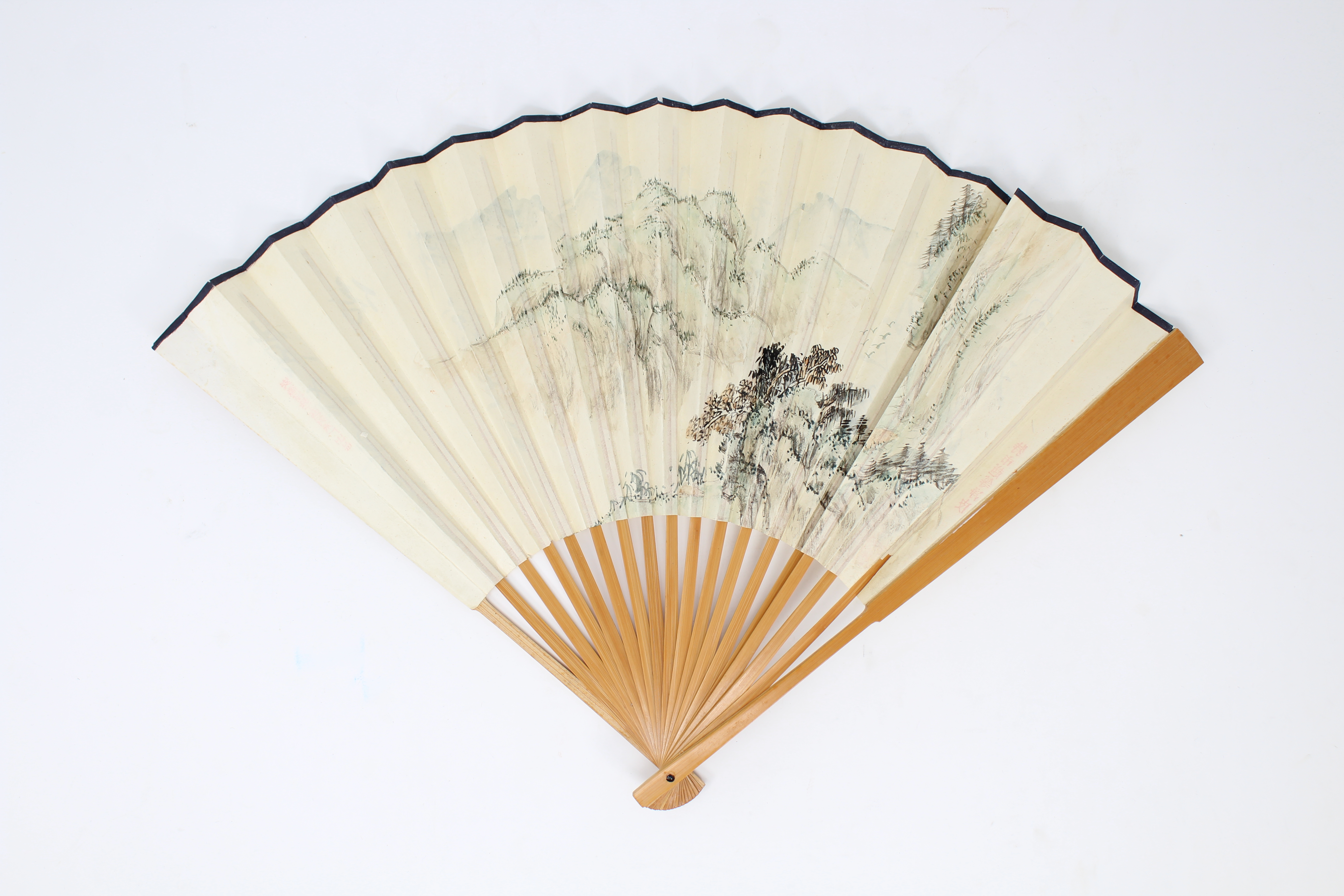 Lot 286 - Chinese Ink/Watercolor, Fan. Signed