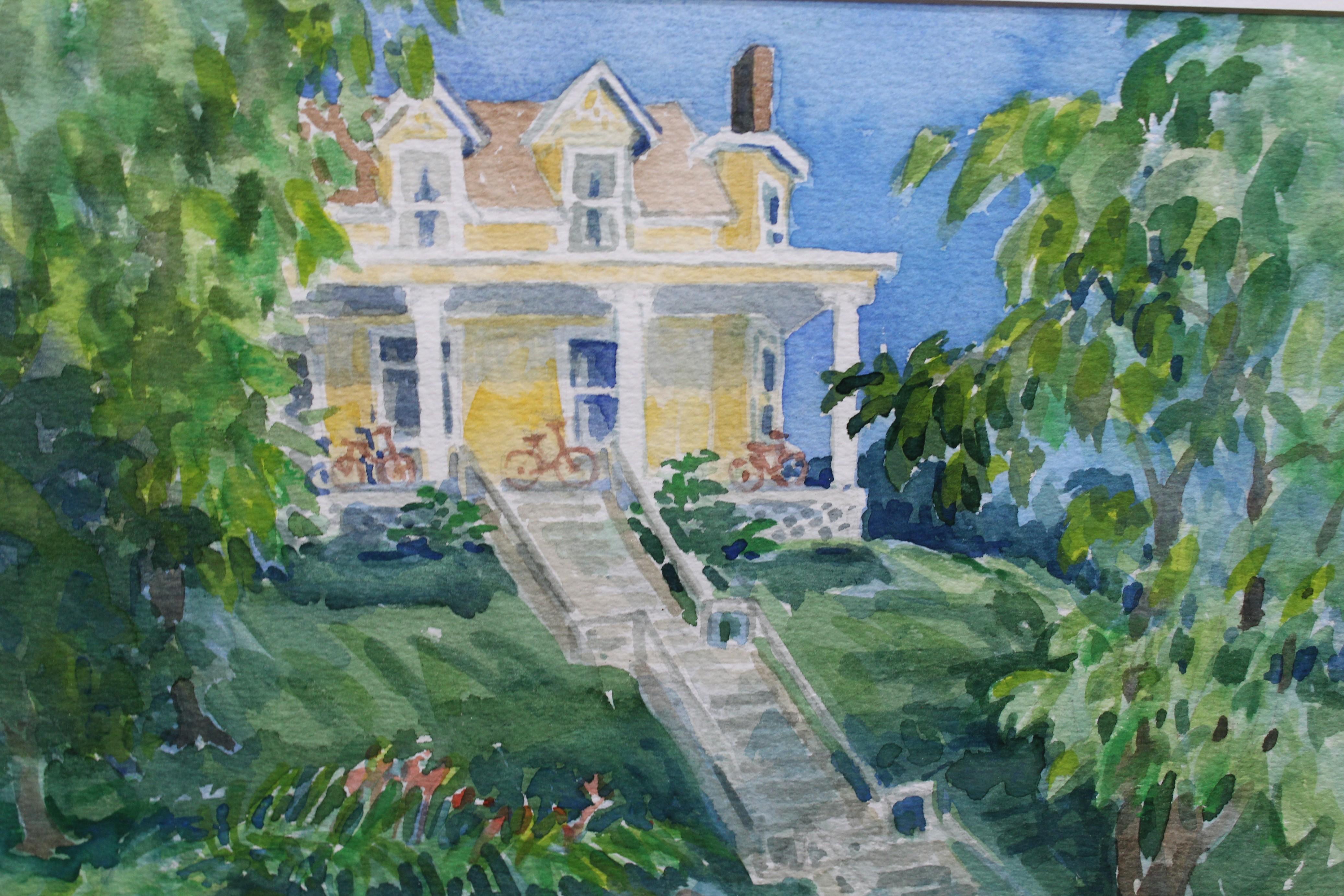 Lot 283 - (4) Framed American School Watercolors of Houses