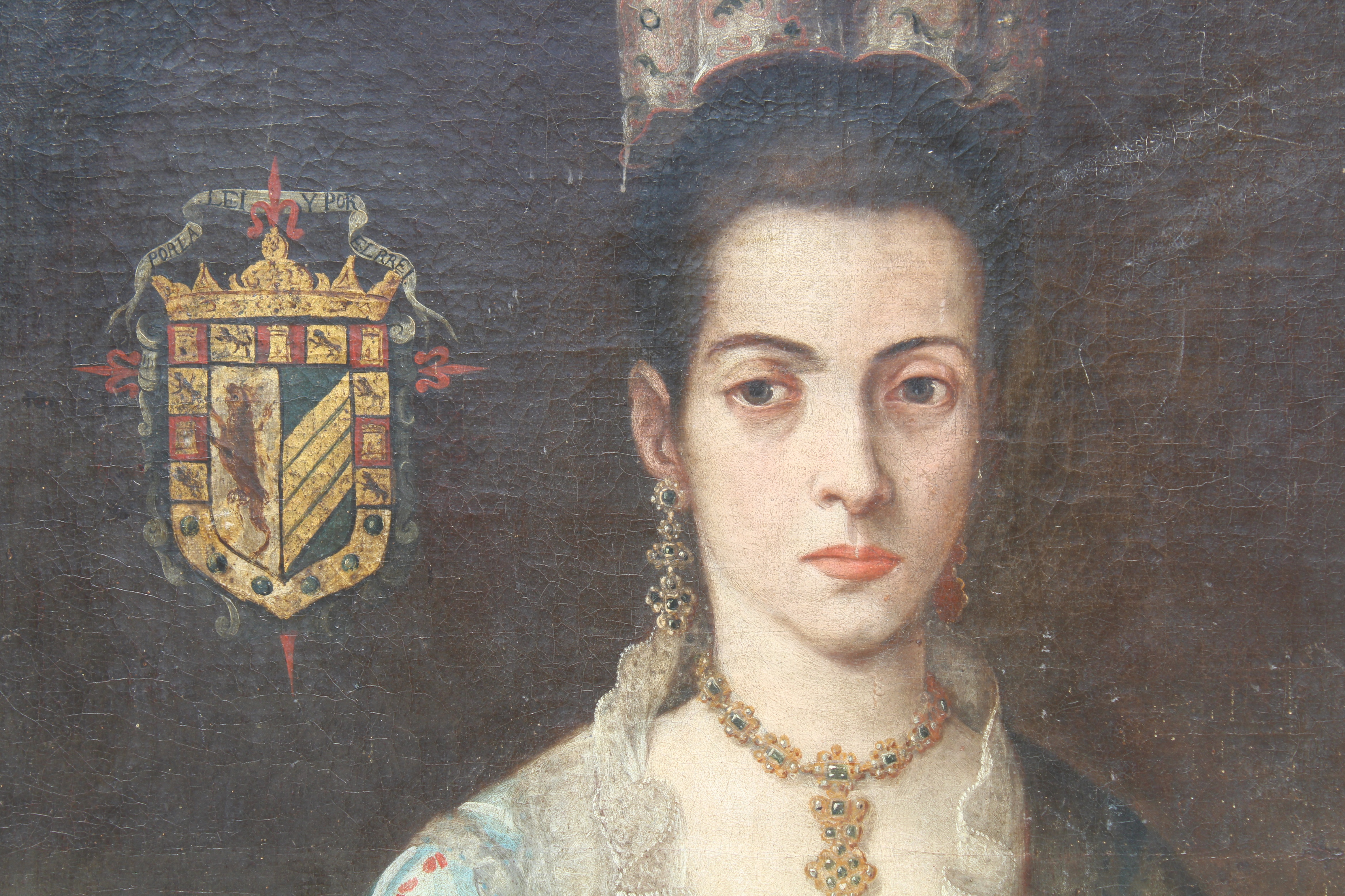 Lot 21 - 17th C Spanish School Portrait of an Elegant Woman