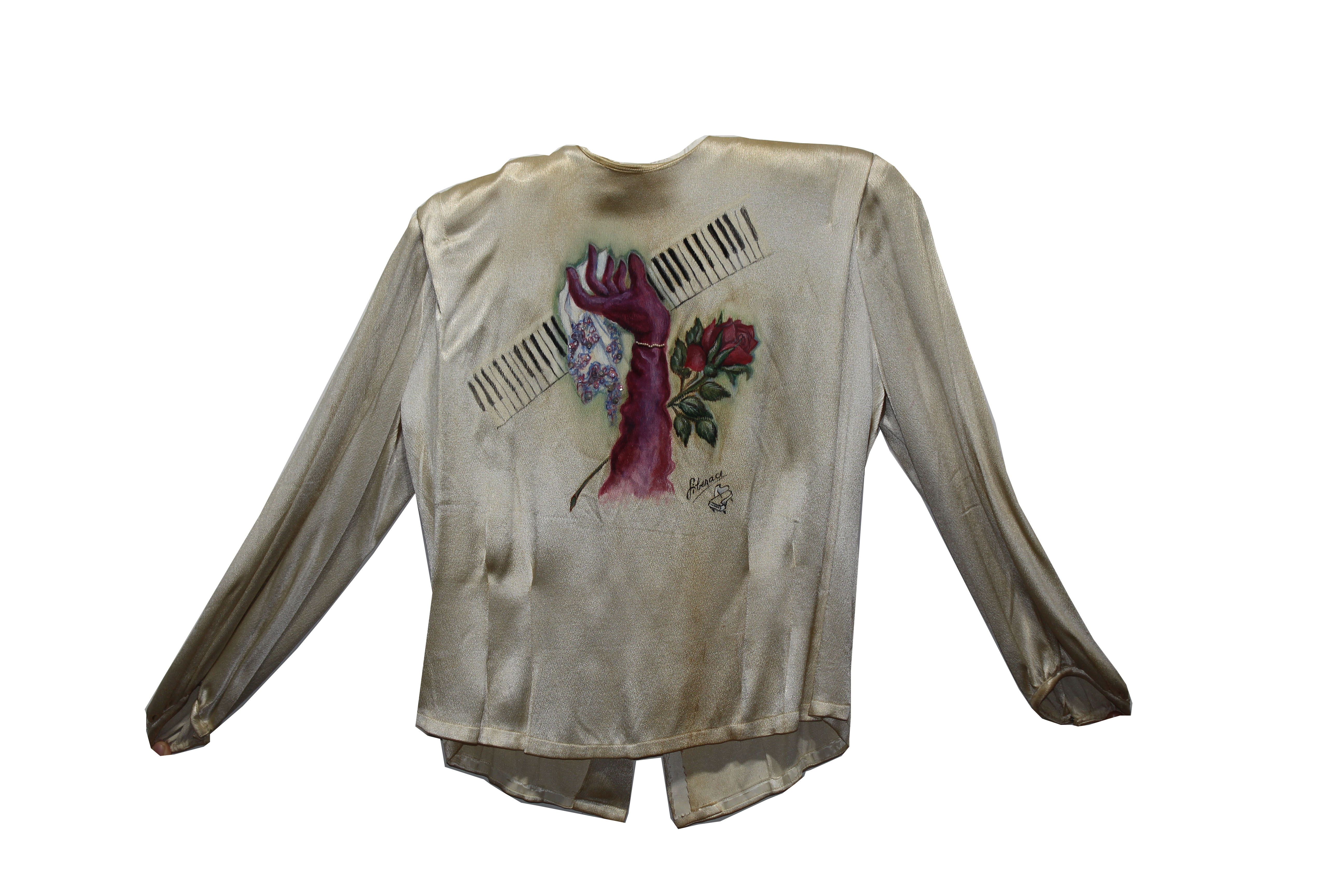 Lot 19 - Rare Hildegarde Blouse, Handpainted by Liberace
