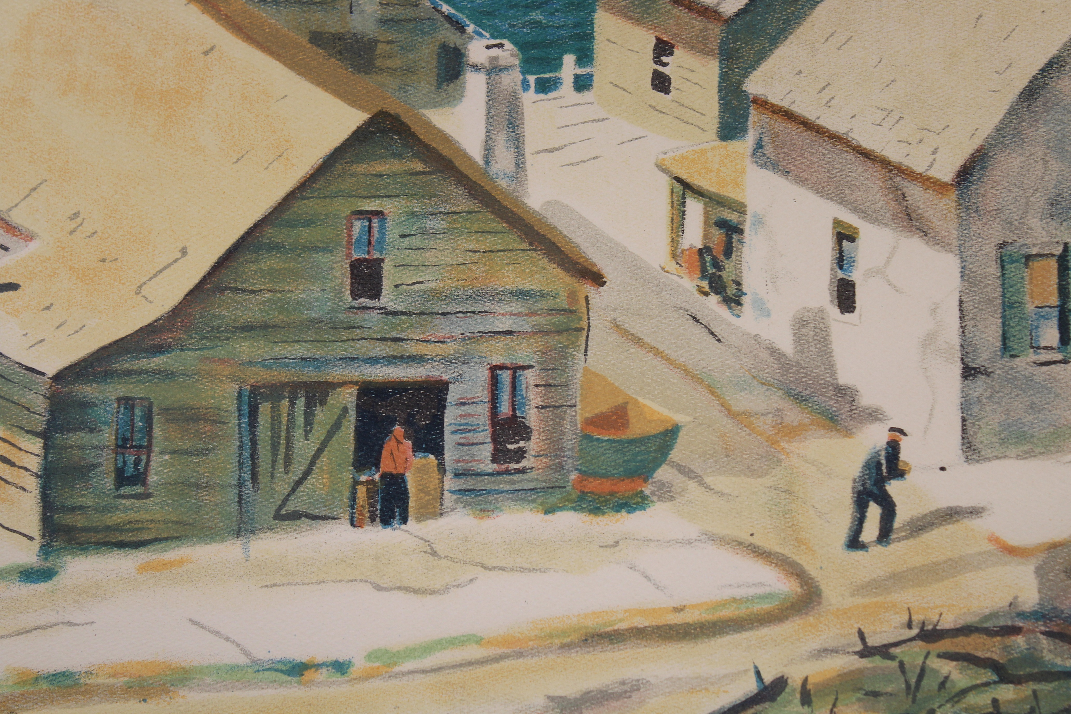 Henry Gasser Lithograph Gloucester Harbor - Image 5 of 7