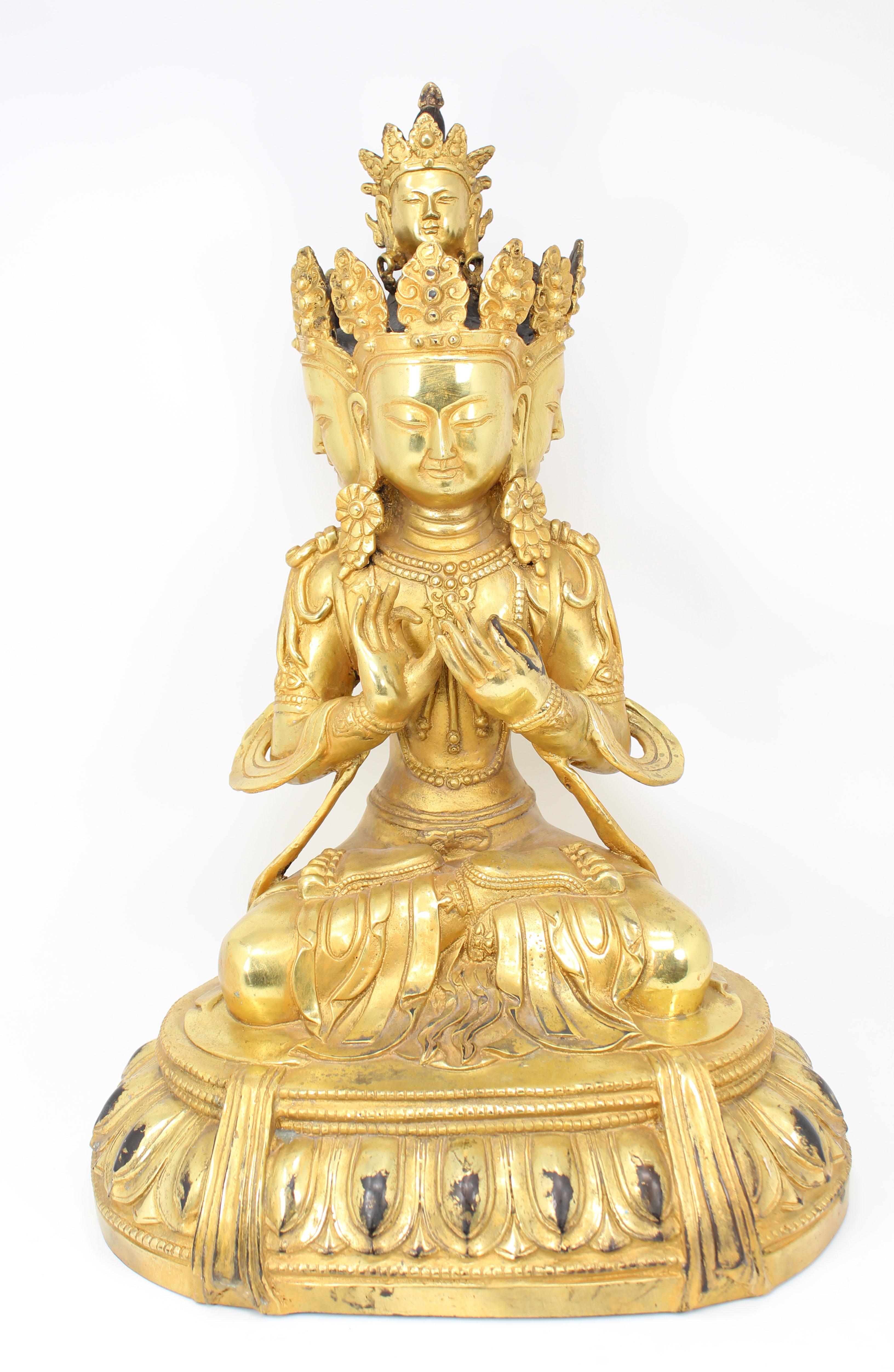 Lot 30 - Antique Gilt Bronze Tibetan Bodhisattva Vasundhara