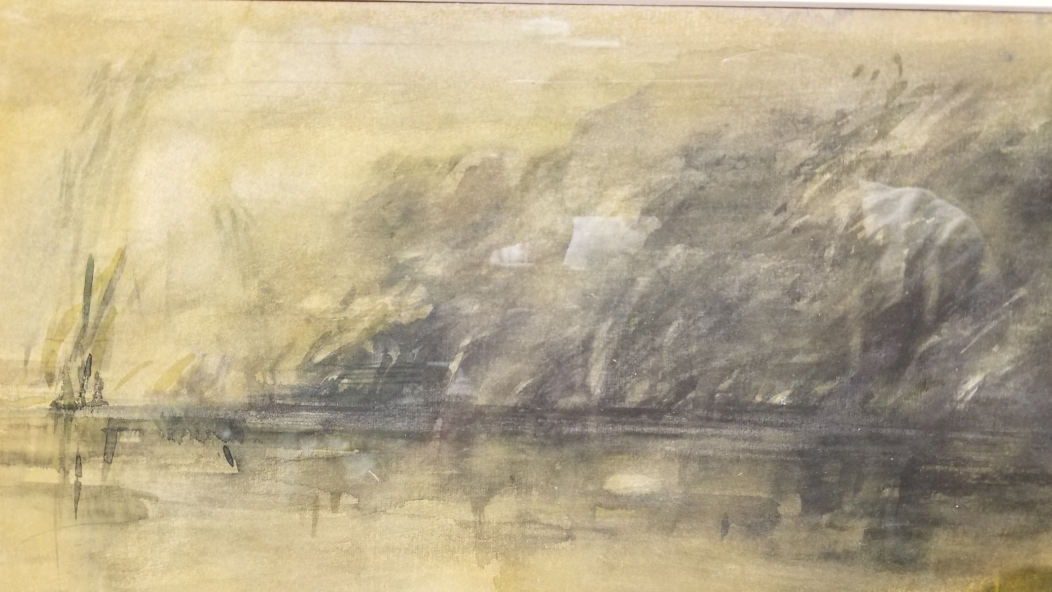 Lot 243 - Initialed, Coastal Tonalist Watercolor