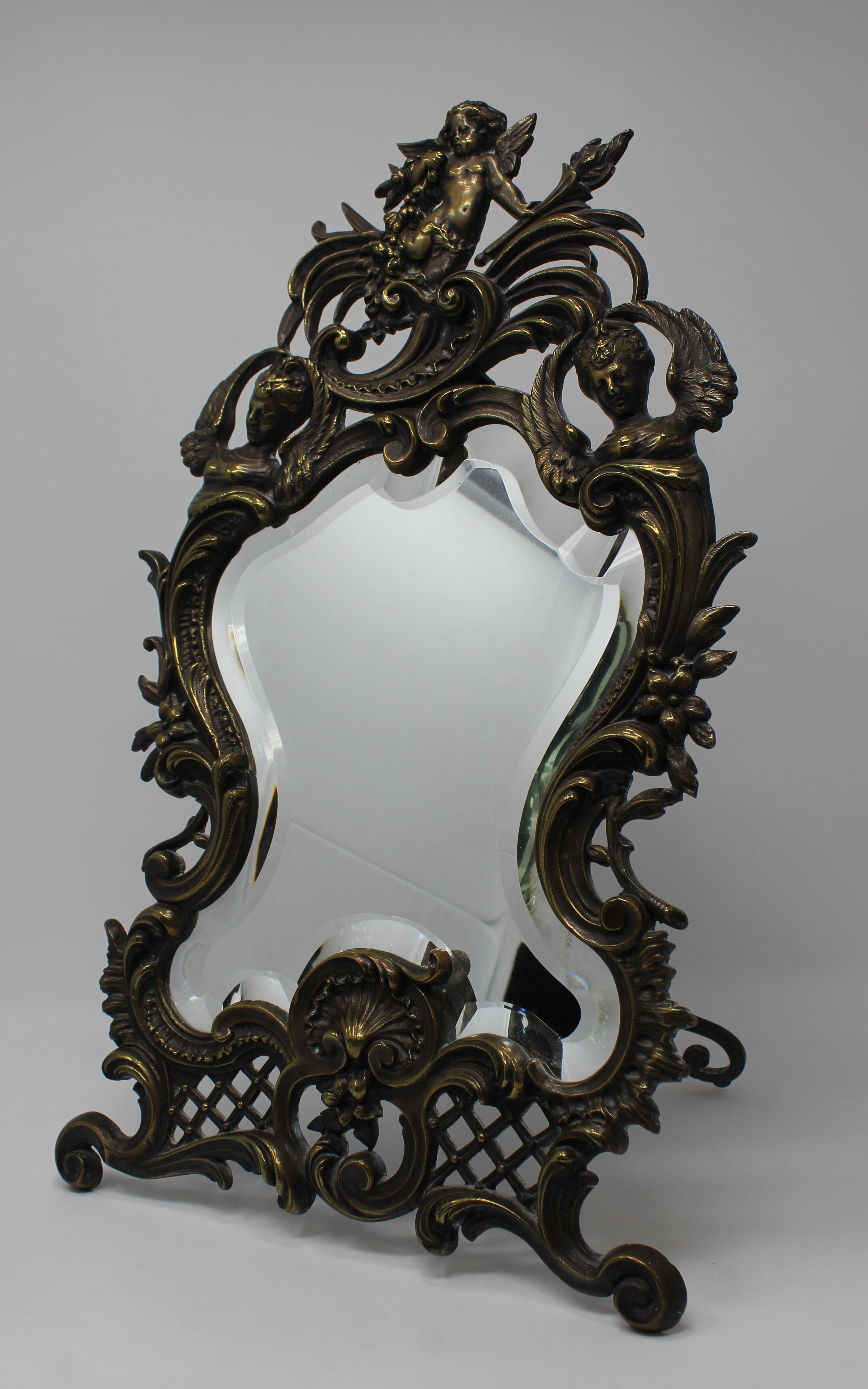 Lot 182 - Antique Louis XV Silvered Bronze Figural Mirror