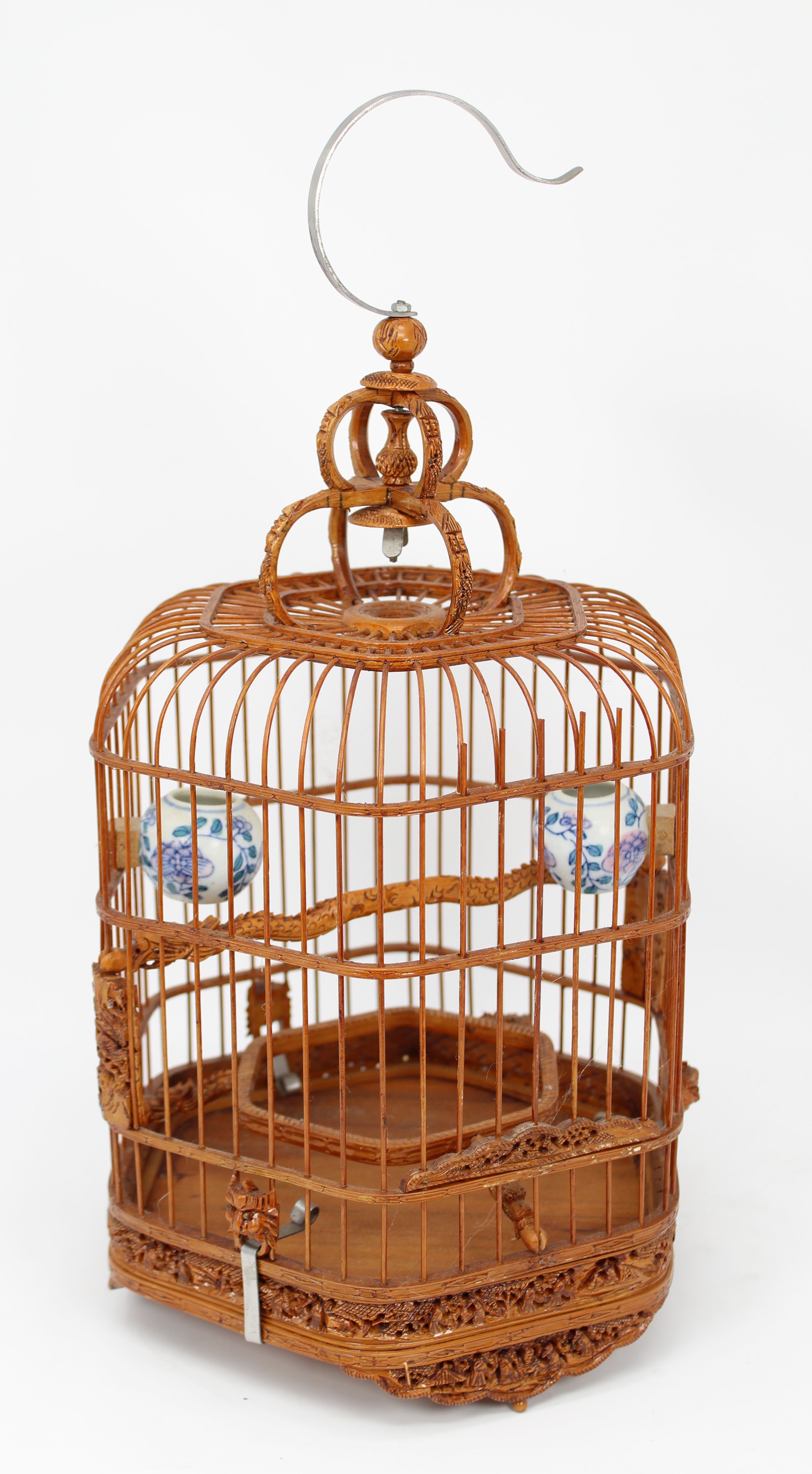 Lot 246 - Chinese, Vintage Carved Bamboo Bird Cage