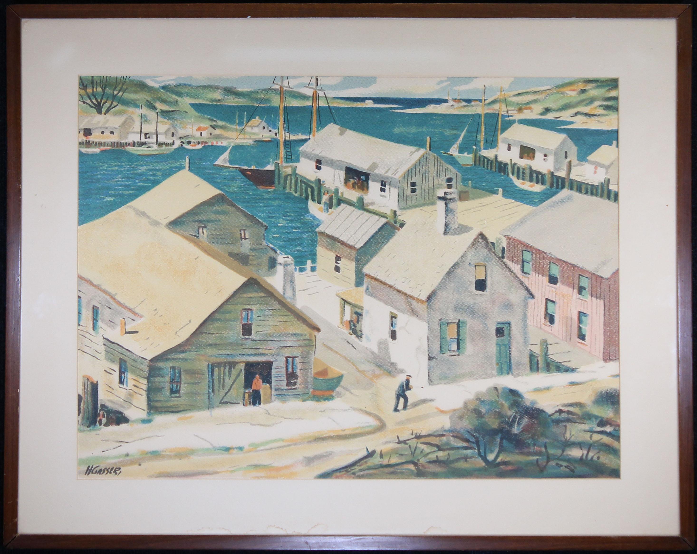 Henry Gasser Lithograph Gloucester Harbor