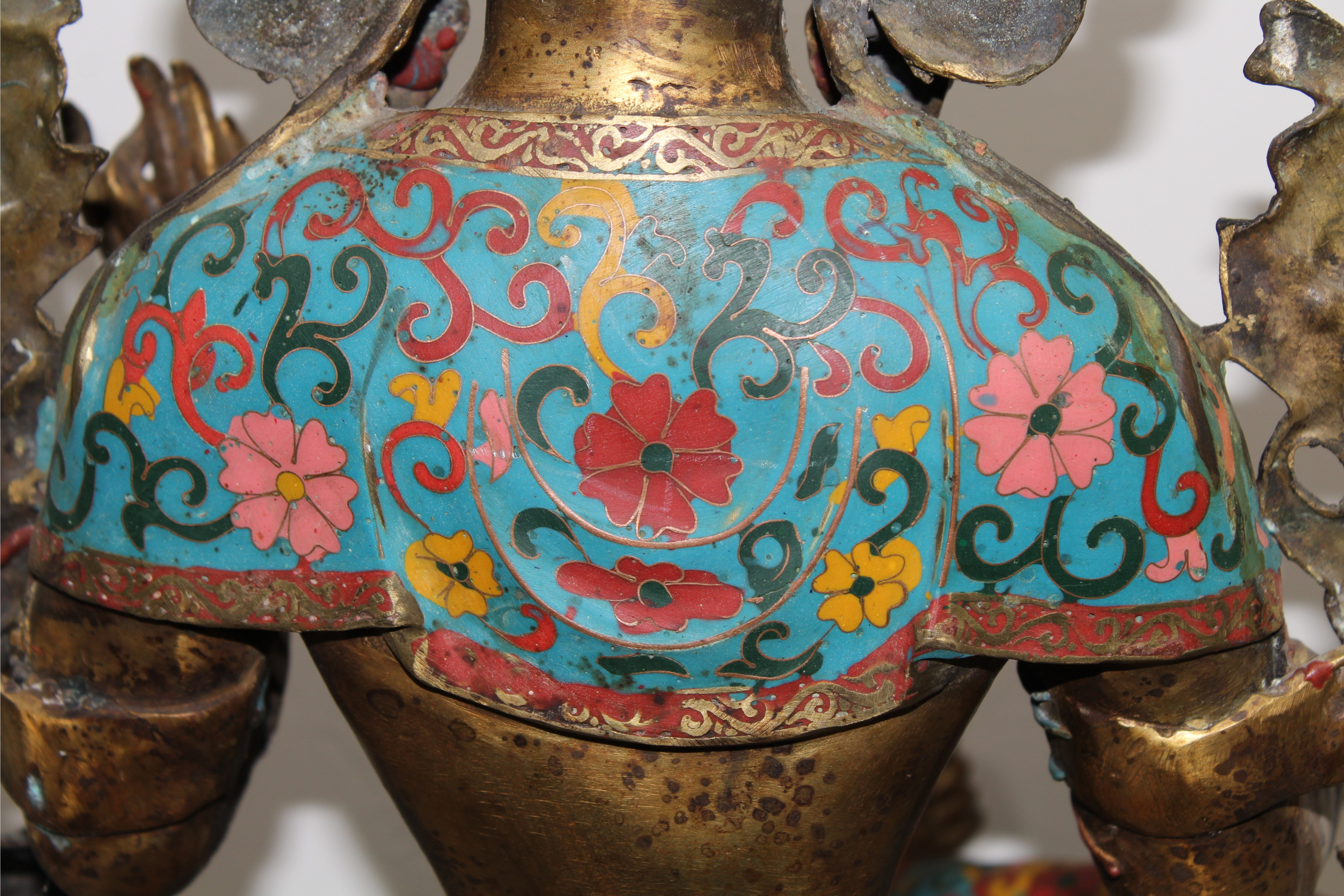 Lot 26 - Large Antique Chinese Cloisonne Figure, Signed