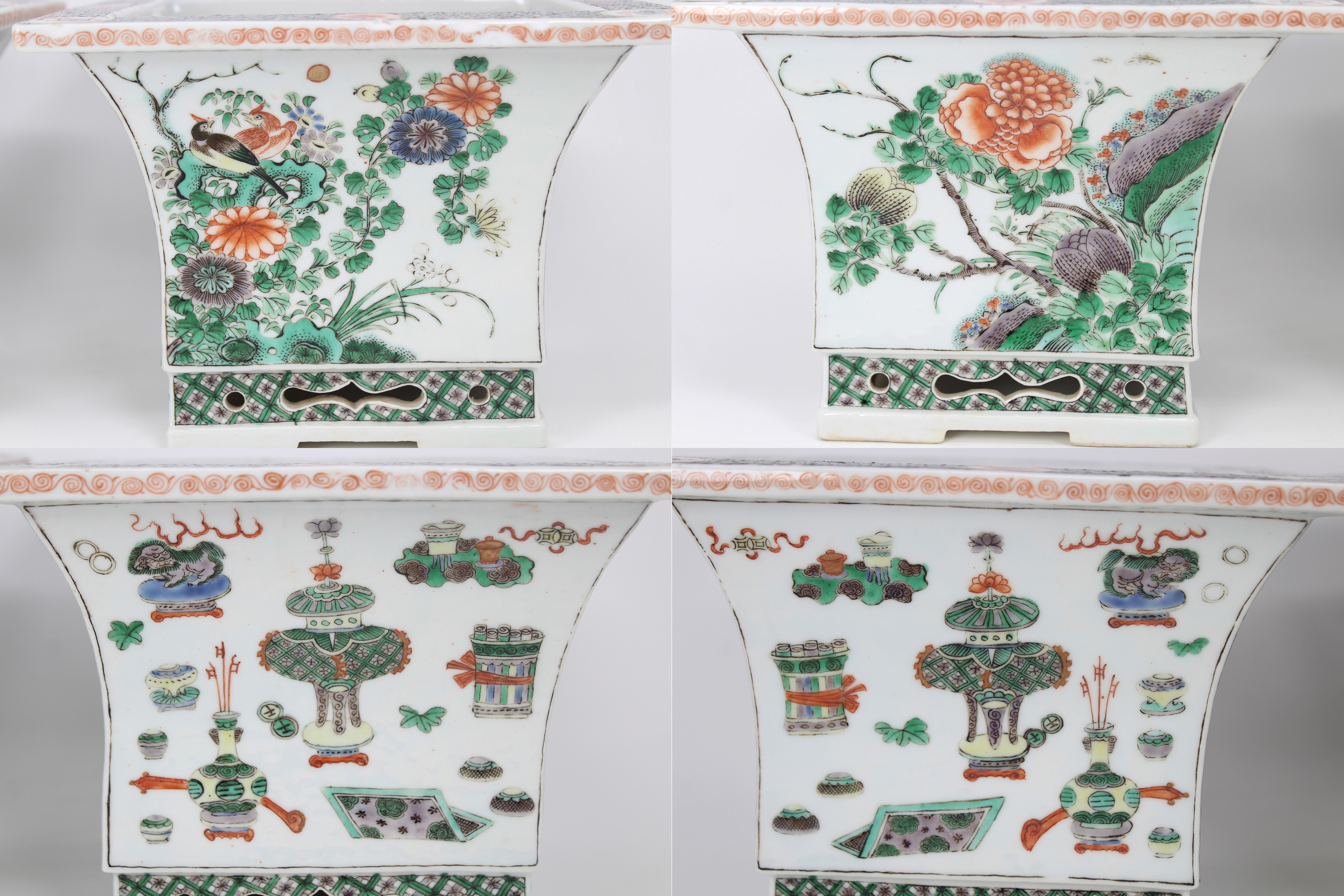 Lot 48 - Pair Chinese Famille Verte Porcelain Jardinieres