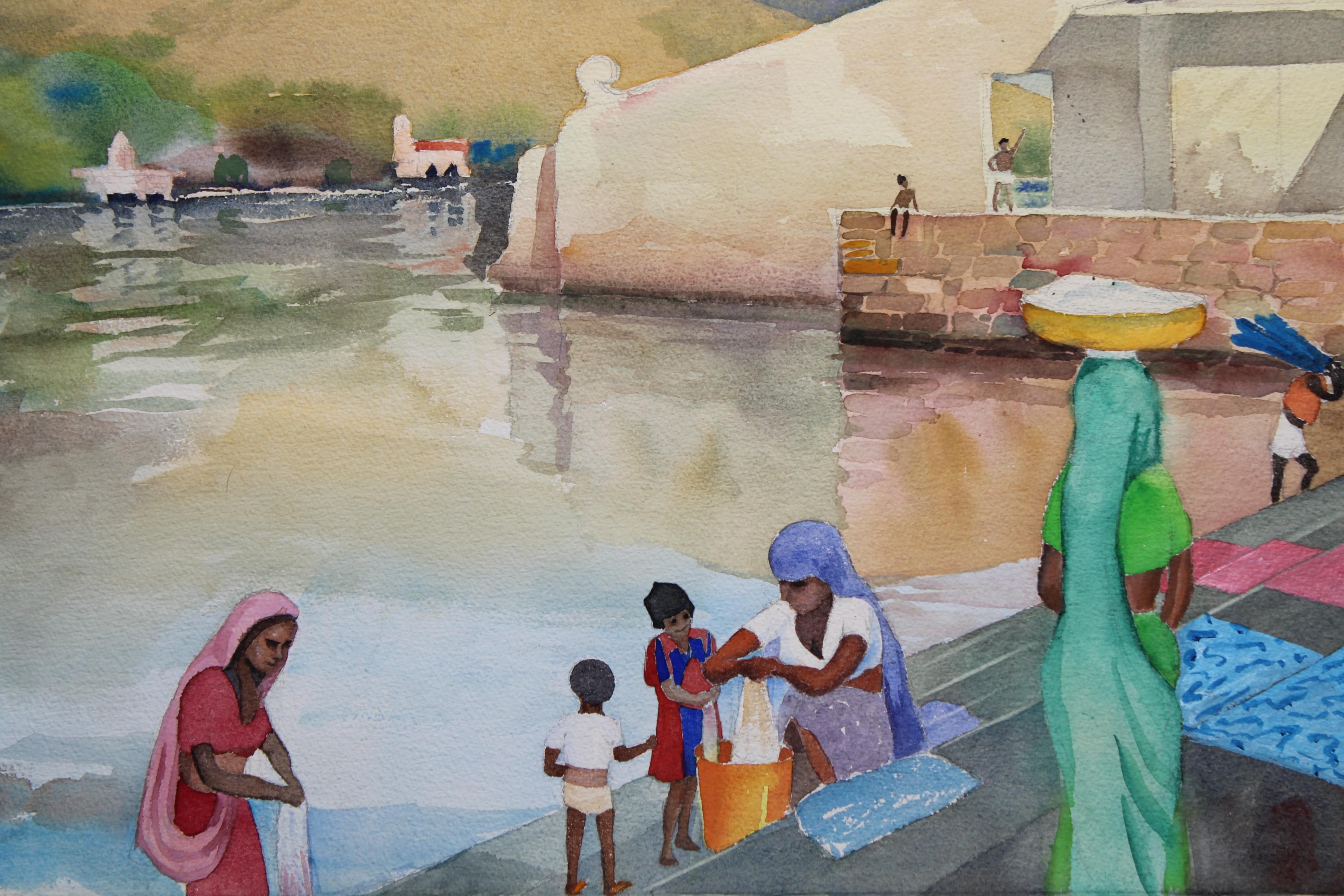 Lot 218 - 20th C. Udaipur India Coastal Watercolor, Signed