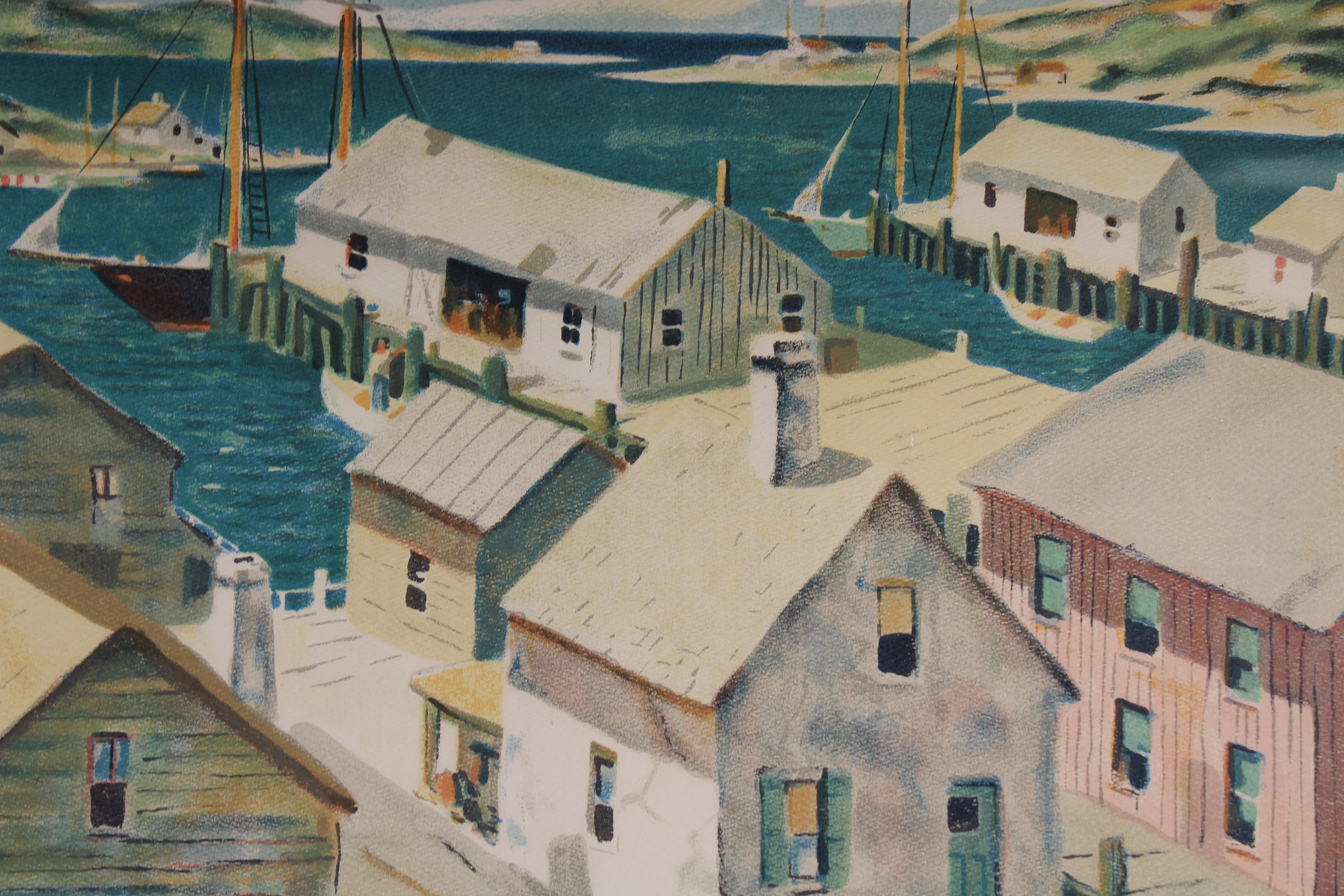 Henry Gasser Lithograph Gloucester Harbor - Image 4 of 7