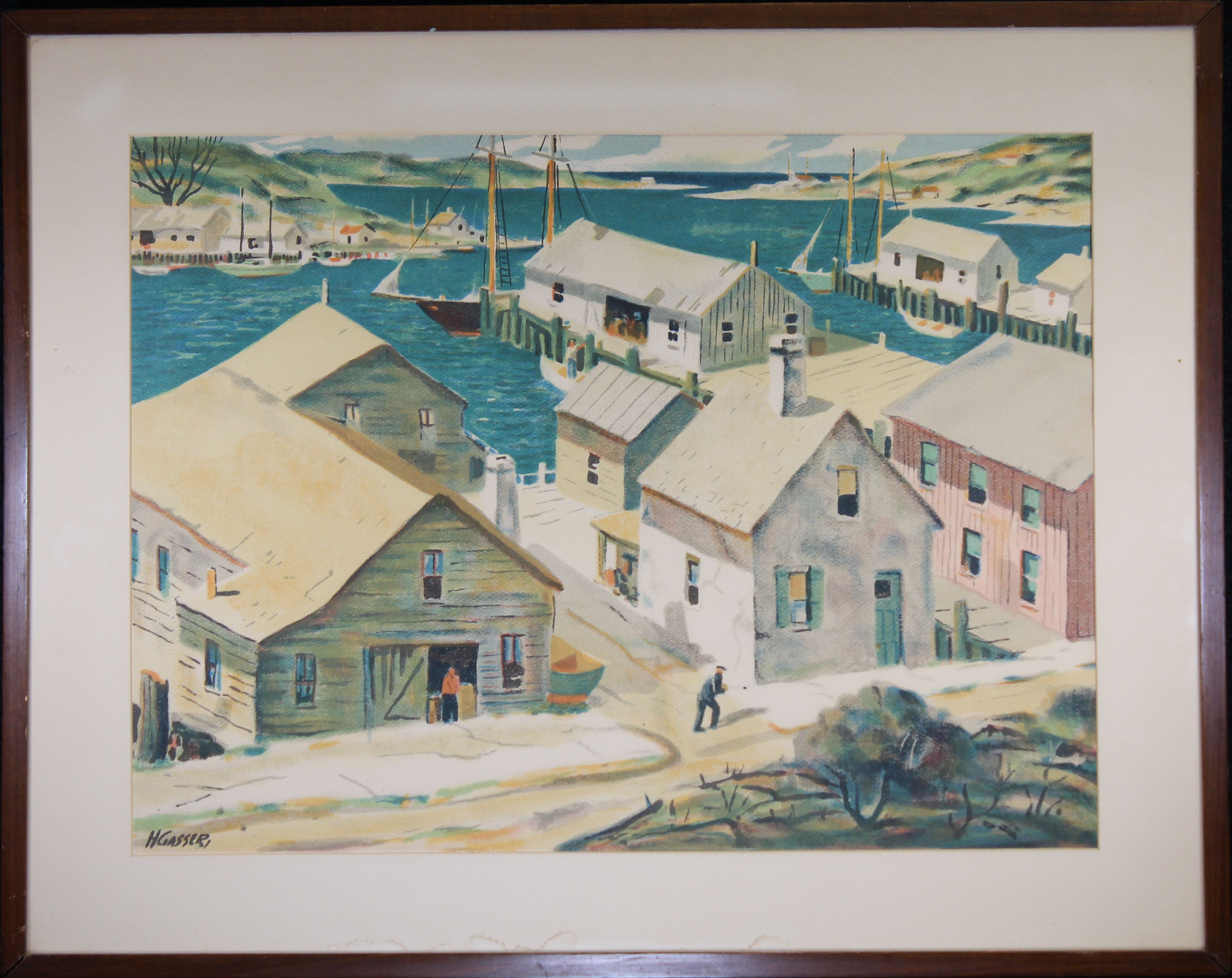 Henry Gasser Lithograph Gloucester Harbor - Image 2 of 7