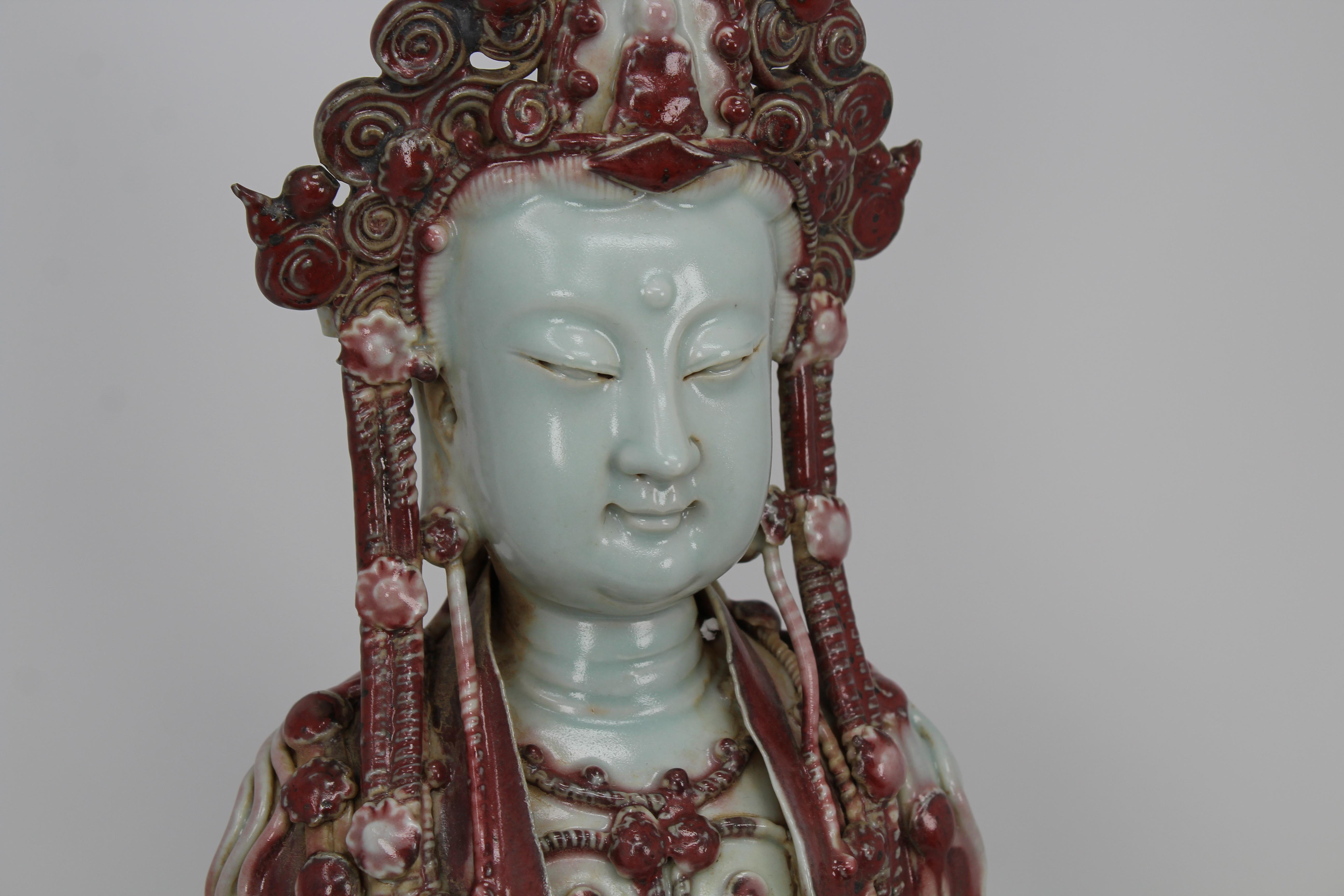 Lot 27 - Large Antique Chinese Longquan Glazed Guanyin
