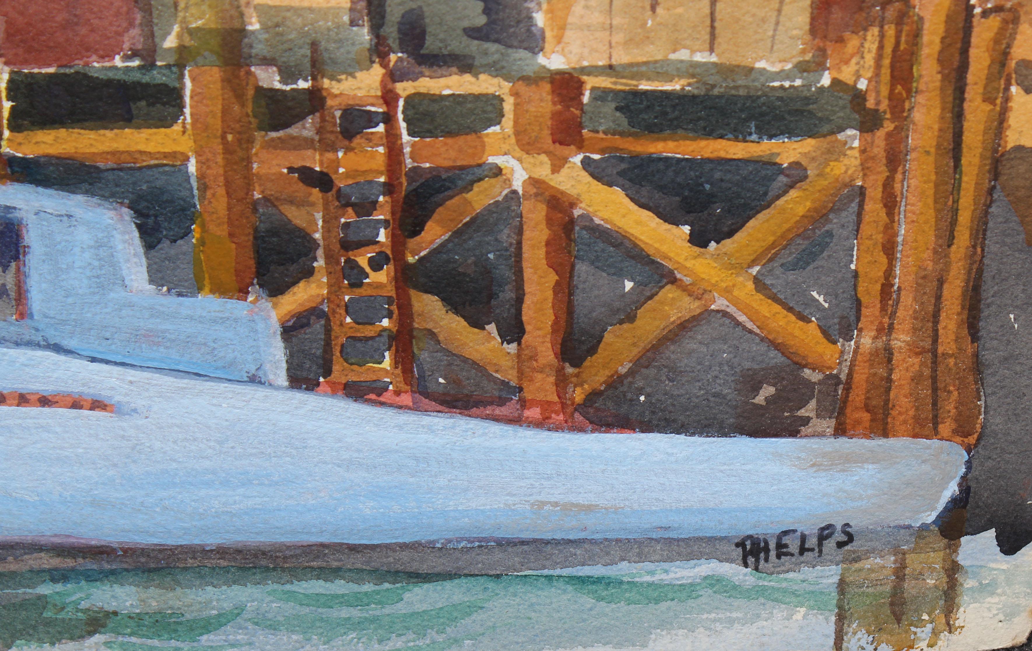 Lot 227 - Phelps, Signed 20th C. California Harbor Scene