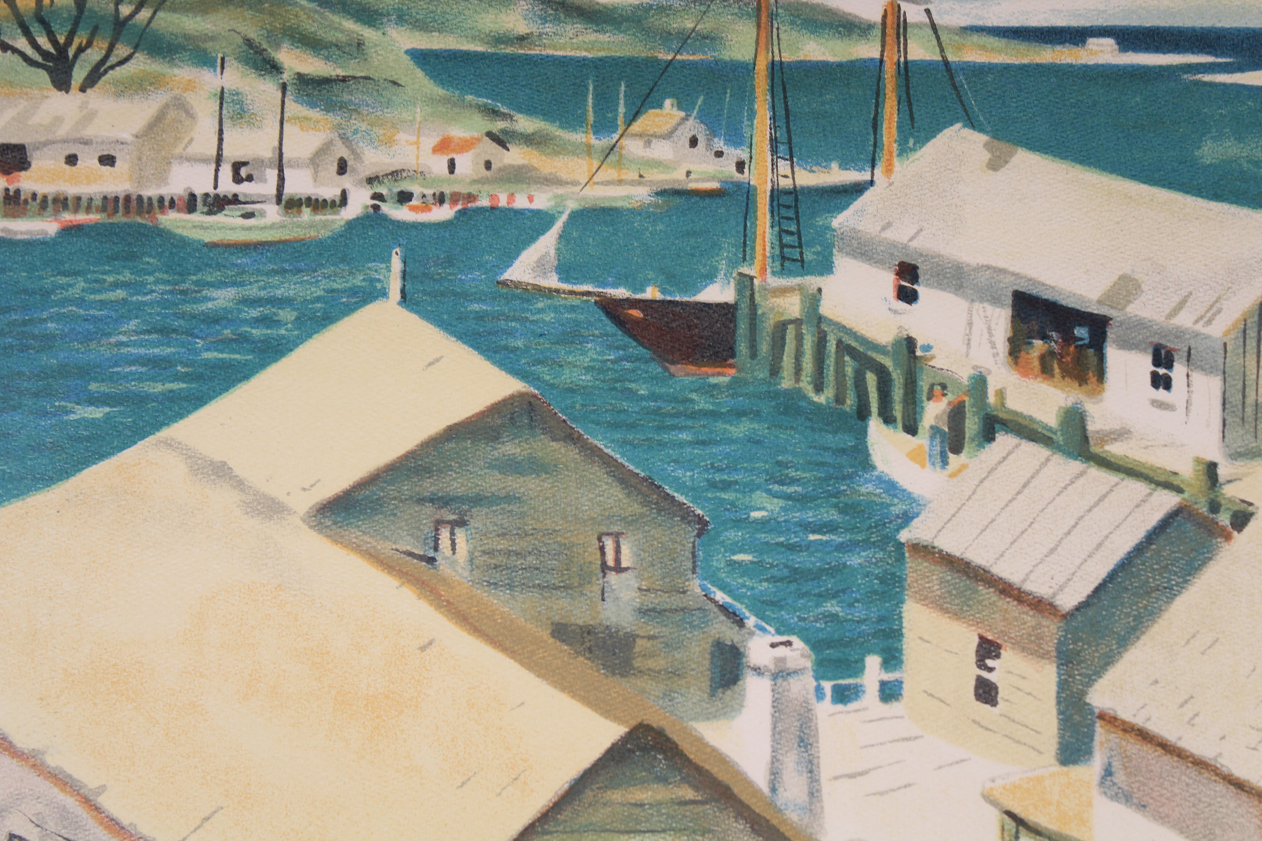 Henry Gasser Lithograph Gloucester Harbor - Image 6 of 7