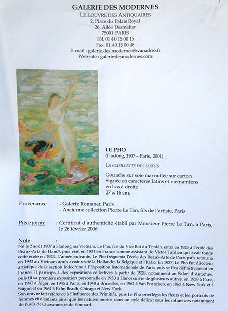 """Lot 40 - Le Pho (1907 - 2001) """"La Cueillette Des Lotus"""""""