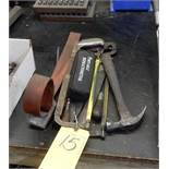LOT MISC. HAND TOOLS TO INCLUDE HAND SAWS, FILES, HAMMER