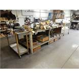 """4' X 9"""" SHOP TABLE W/(2) ROLLAROUND TABLES"""