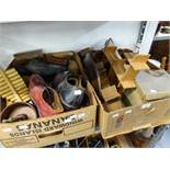 VARIOUS ITEMS TO INCLUDE; A 'LIFE BOAT' COLLECTING BOX, CLOGS, SHOES AND A QUANTITY OF WOODEN