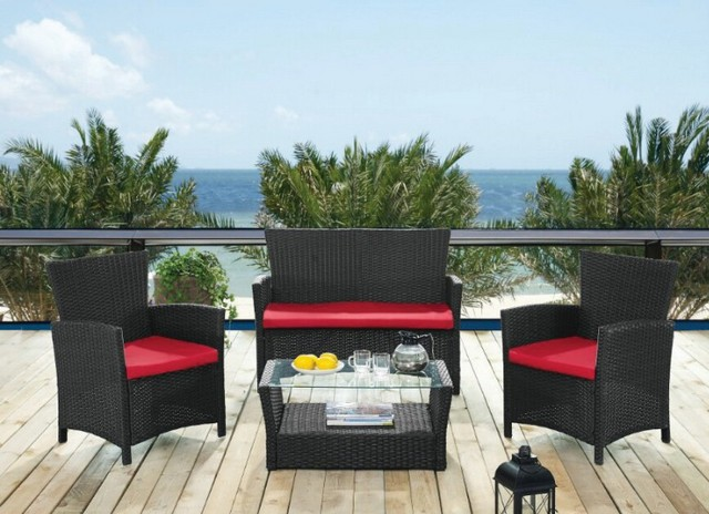 Lot 50038 - V Brand New 4 Piece Rattan Garden Lounge Set inc 2 x chairs (60x64x81cm) - 1 x coffee table (