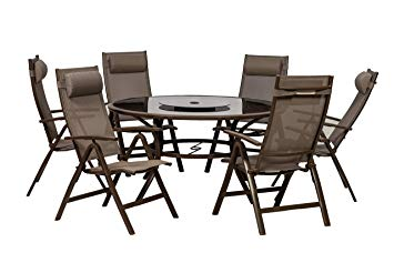 Lot 50010 - V Brand New Florence 150cm 6 Seater Dining Set With Lazy Susan-All Aluminium Construction On Table &