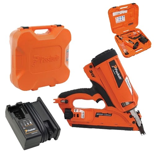 Lot 50035 - V Brand New Paslode IM350 Plus 90mm 7.4v 2.1Ah Li-ion First Fix Angled Gas Framing Nailer With