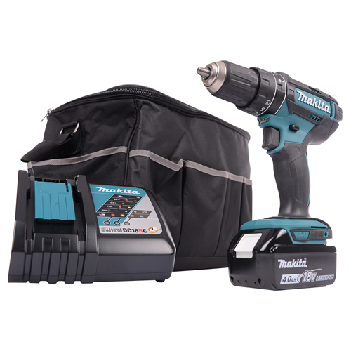 Lot 50017 - V Brand New Makita 18v Li-ion Combi Drill With 4.0Ah Battery - Makita Charger - Makita Carry Case/