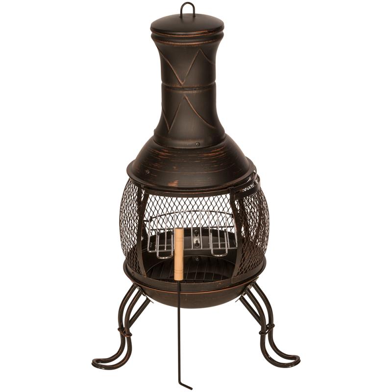 Lot 50050 - V Brand New Outdoor Chiminea BBQ Heater - Black Powder Coating With Bronze Finish