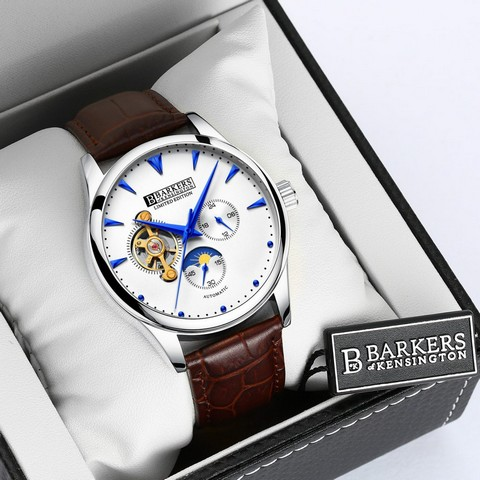 Lot 50043 - V Brand New Barkers Of Kensington Gents Limited Edition Automatic Watch with Blue Hands and