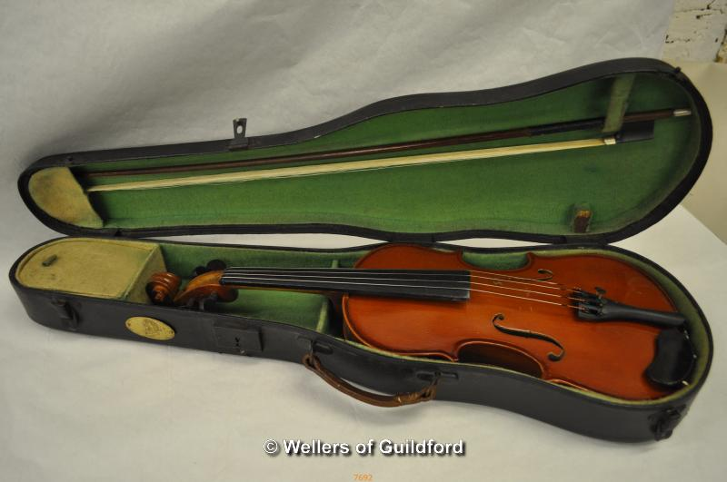 Lot 7692 - *Stentor 1 3/4 violin, case and bow (Lot Subject to VAT)