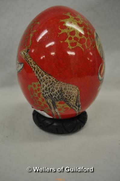 Lot 7759 - *Ostrich egg painted with safari animals and map of Africa (Lot subject to VAT)